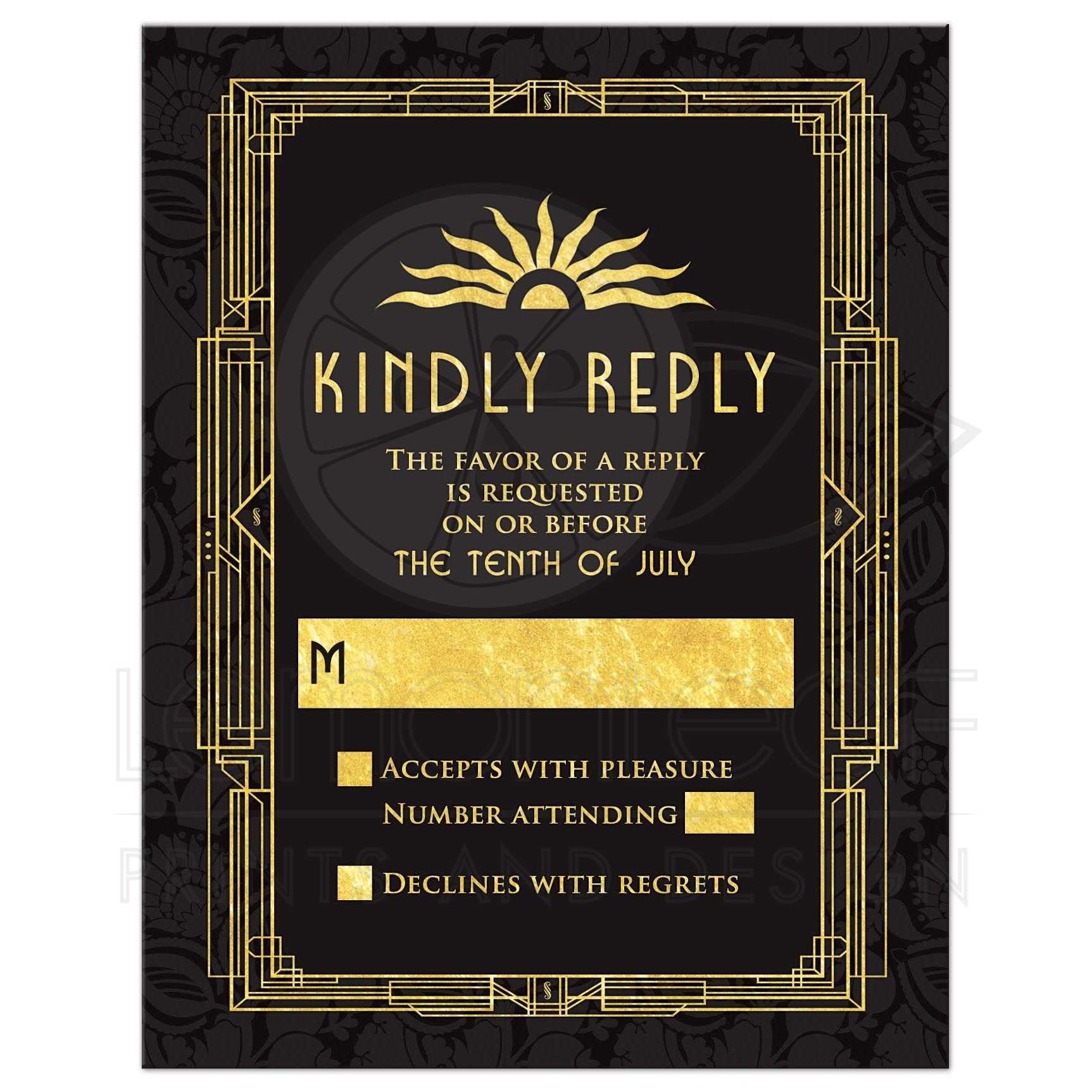Art Deco Wedding RSVP Card Black Gold Roaring 20s Gatsby Style