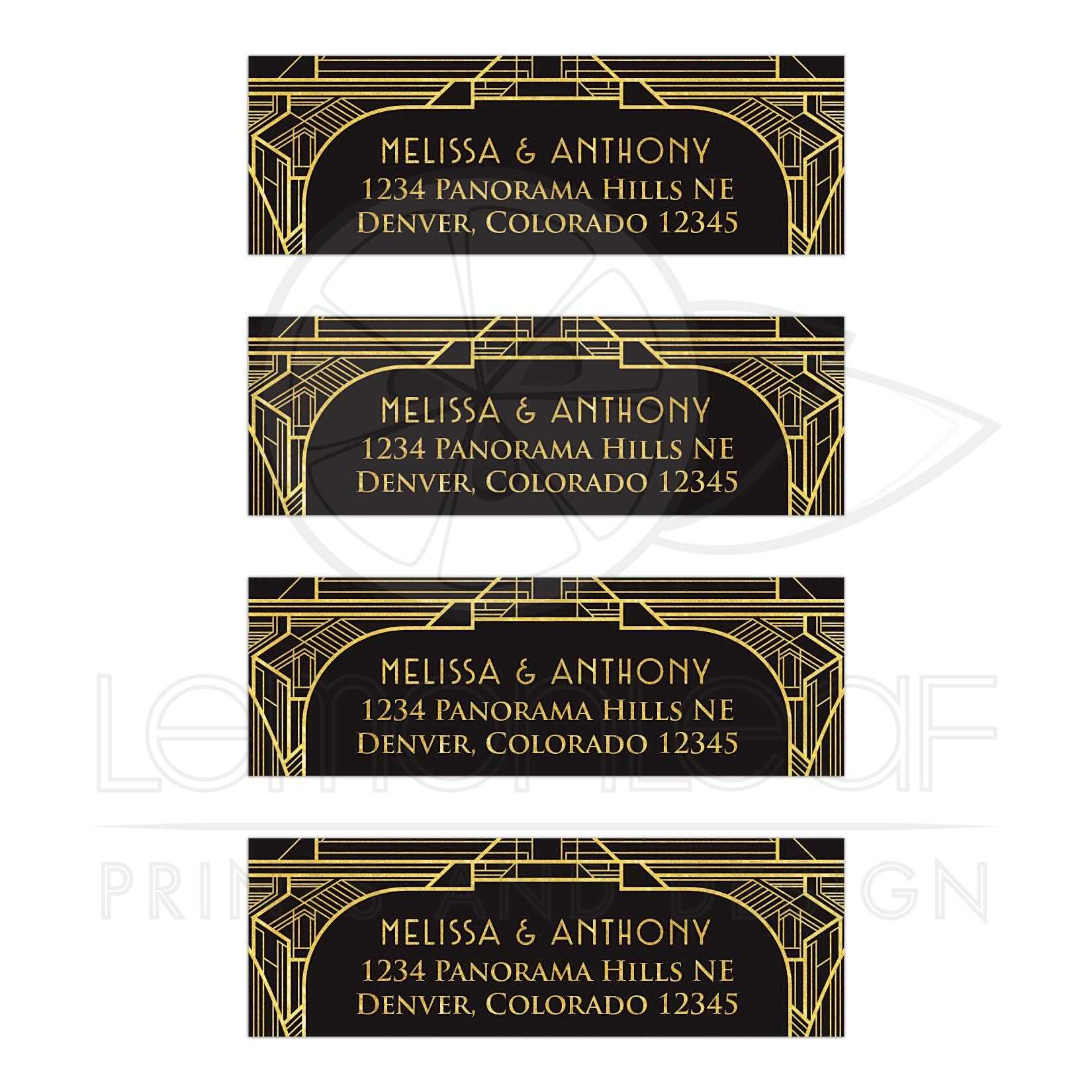 Art Deco Wedding Address Labels Black Gold Roaring 20s