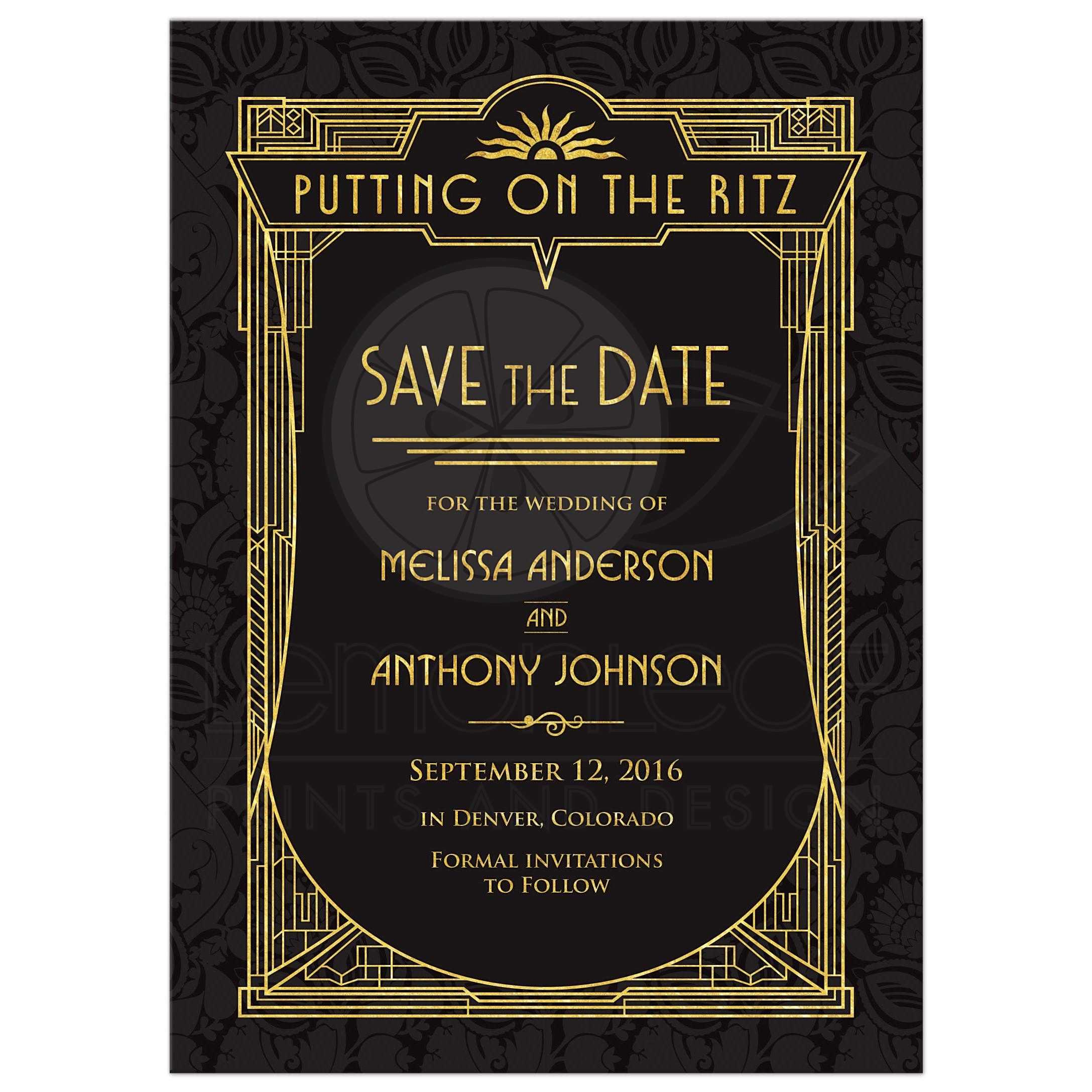 Art Deco Wedding Save the Date Card Black Gold Roaring 20s Gatsby