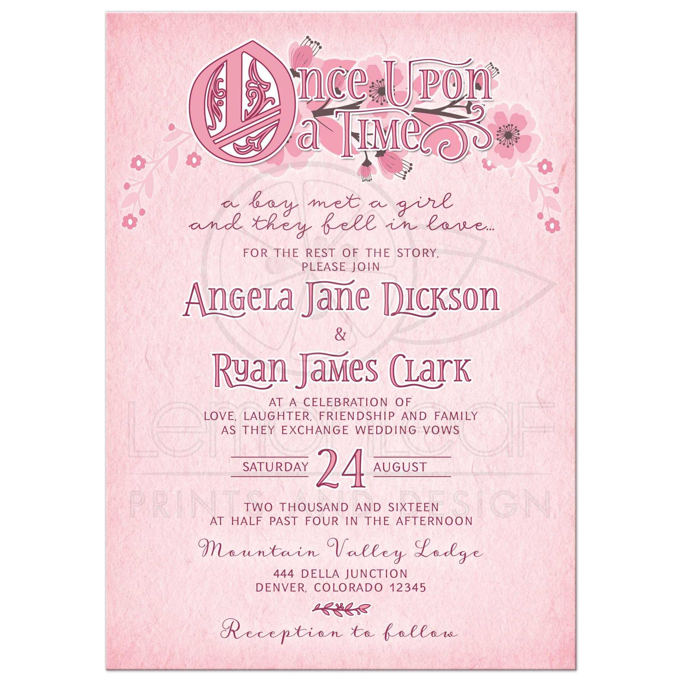 Whimsical Fairy Tale Floral Wedding Invitation Pink and Burgundy