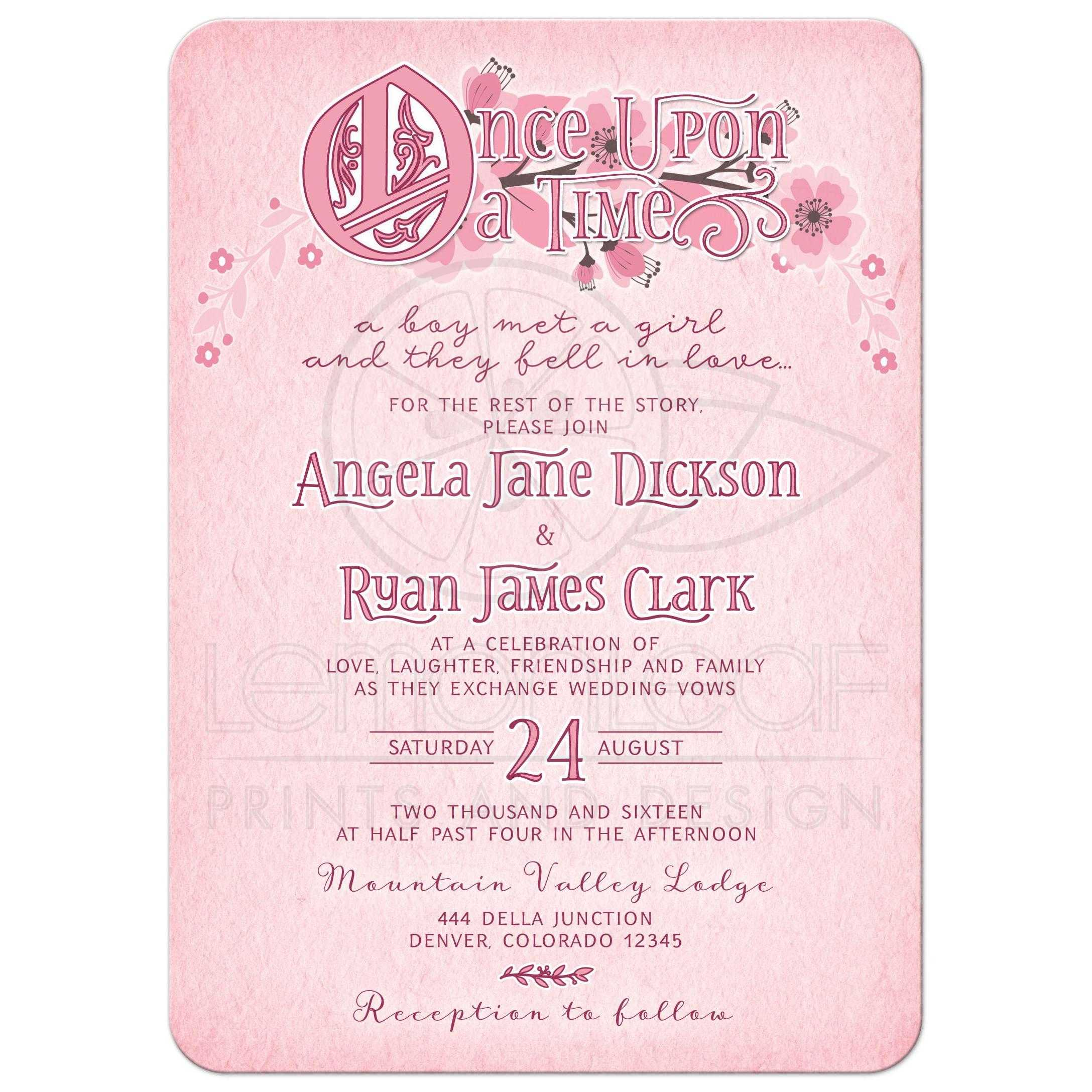 Whimsical Fairy Tale Floral Wedding Invitation | Pink and Burgundy ...