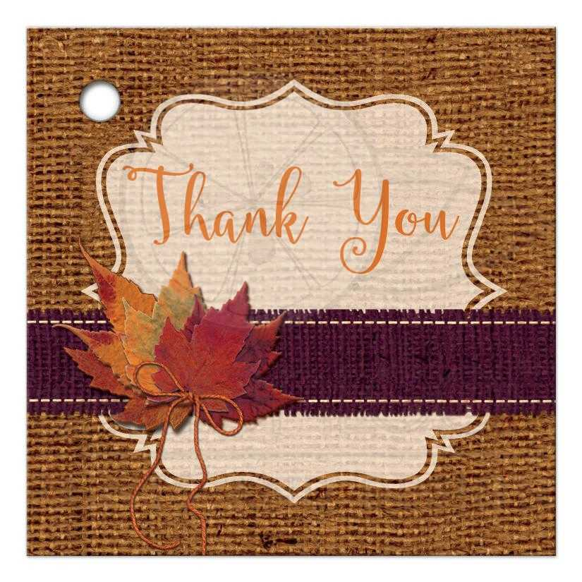 Autumn Wedding Favor Tag 2 Dried Leaves Faux Burlap And