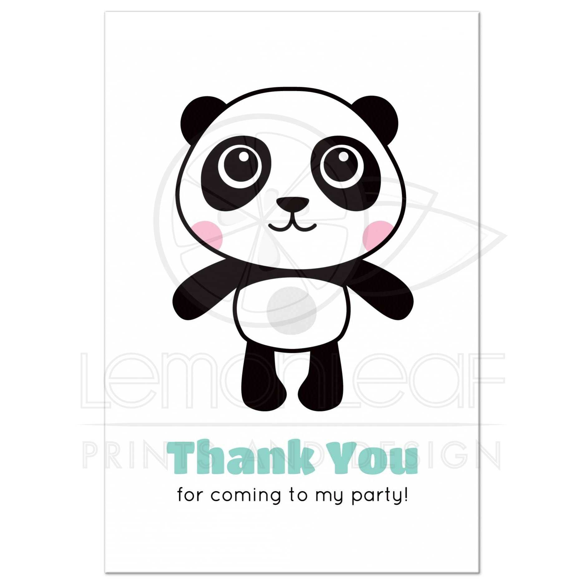 Cute panda thank you for coming to my birthday party postcard