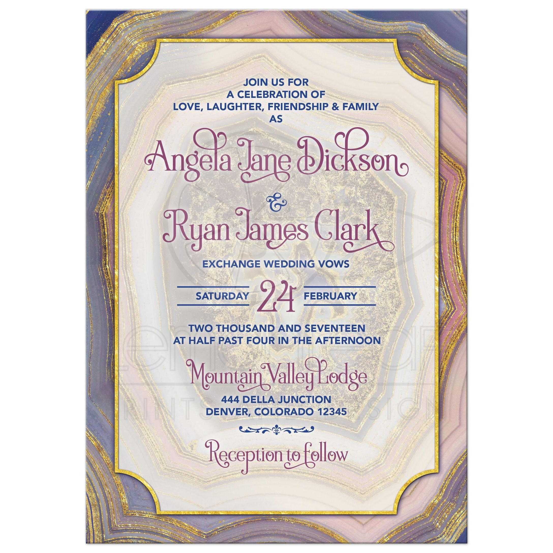Unique Agate Geode Geology Wedding Invitation In Pink, Royal Blue, Purple,  Blush, ...