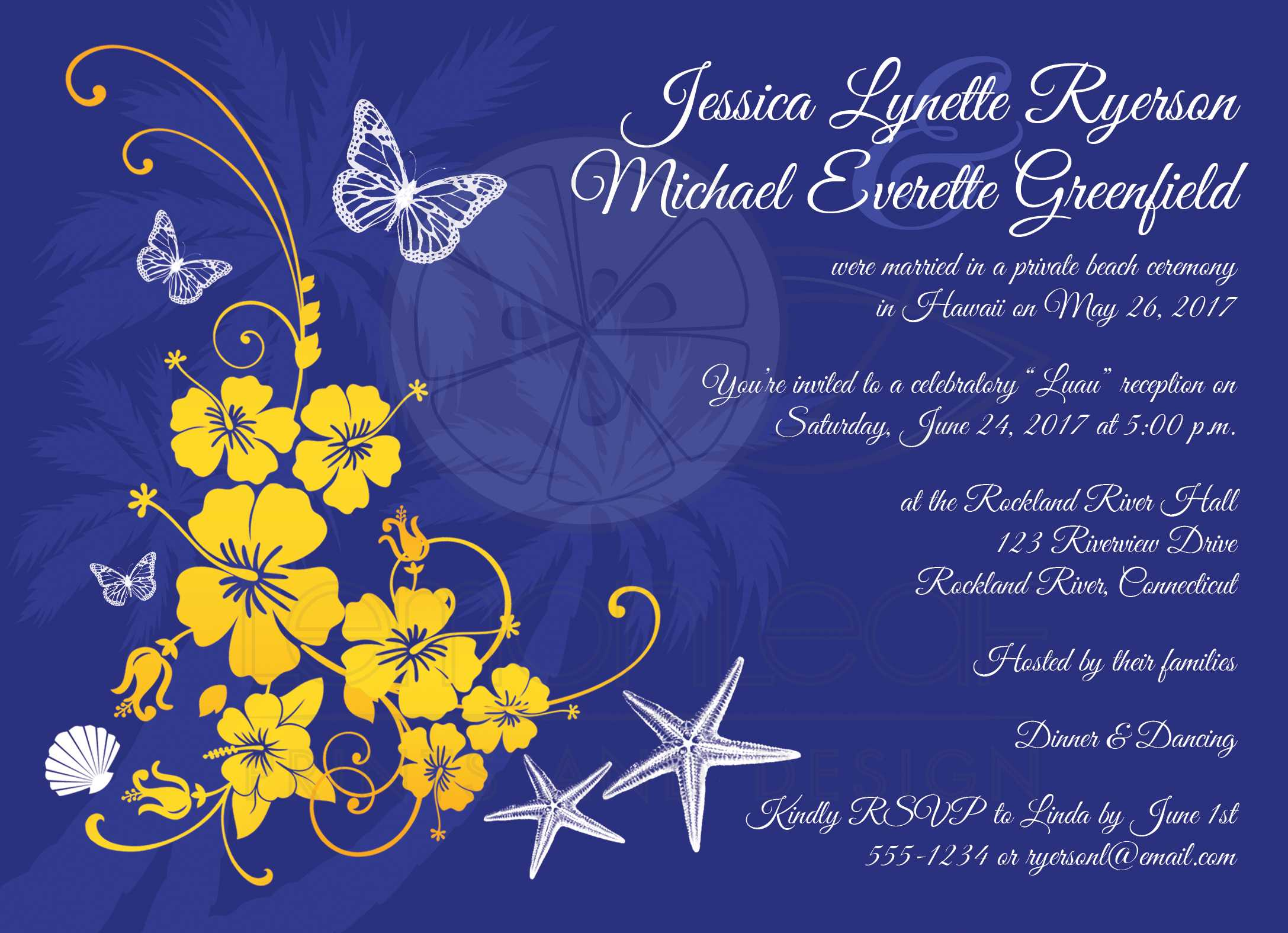 Post Wedding Reception Invitation | Blue, Yellow, White Tropical ...
