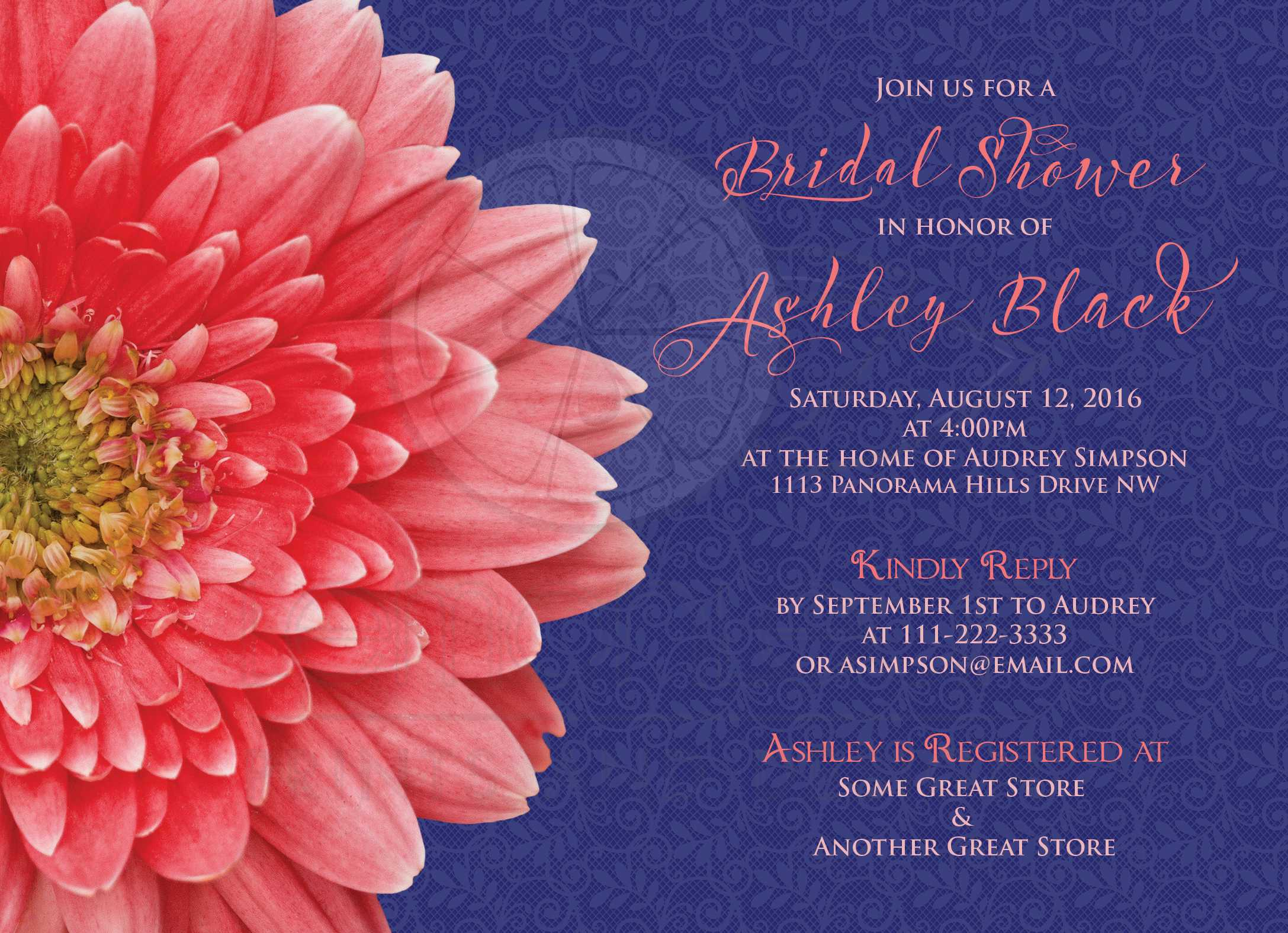 Coral Daisy Navy Blue Lace Bridal Shower Invitation