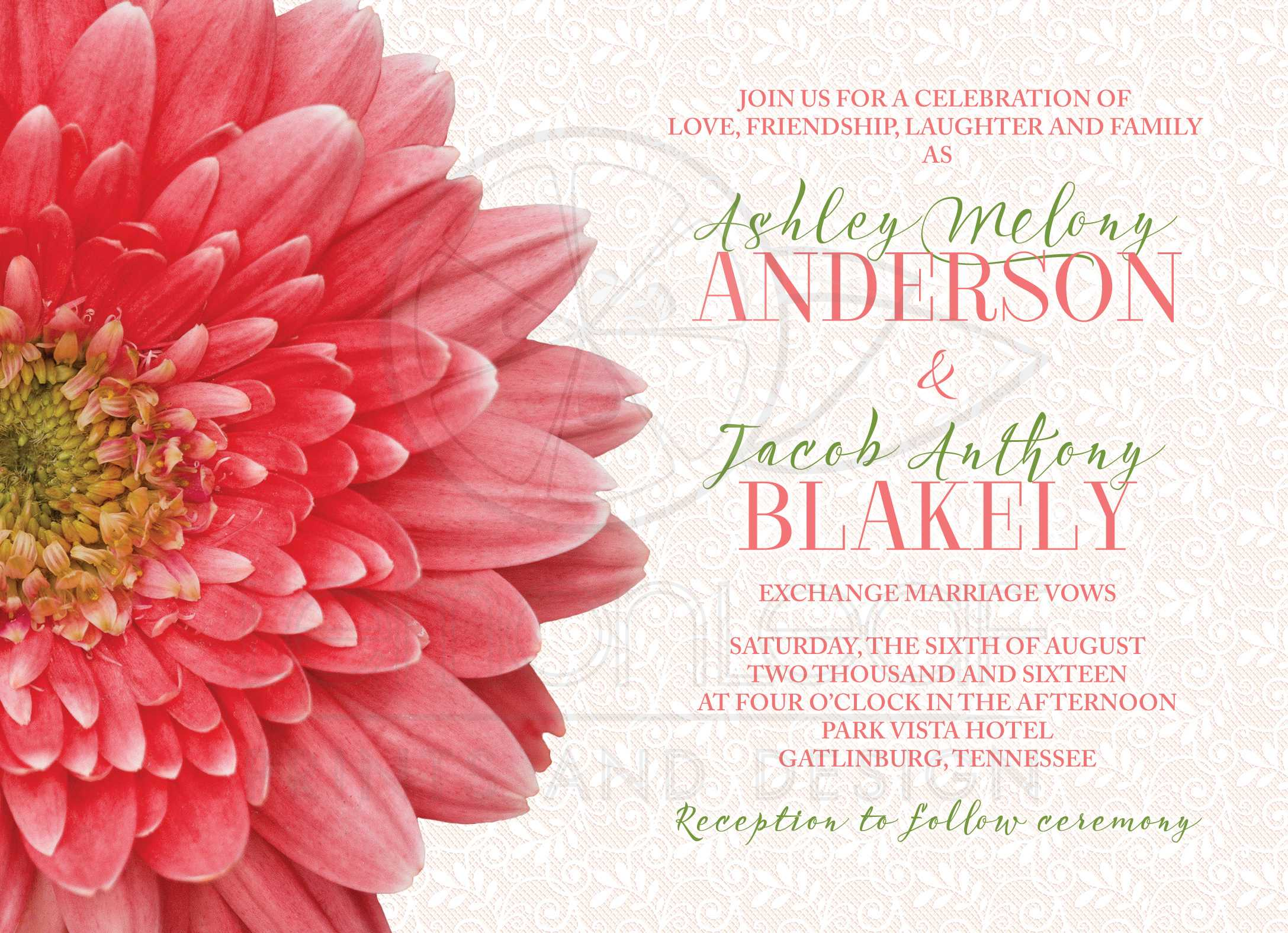 Coral Green Gerbera Daisy Lace Wedding Invitation