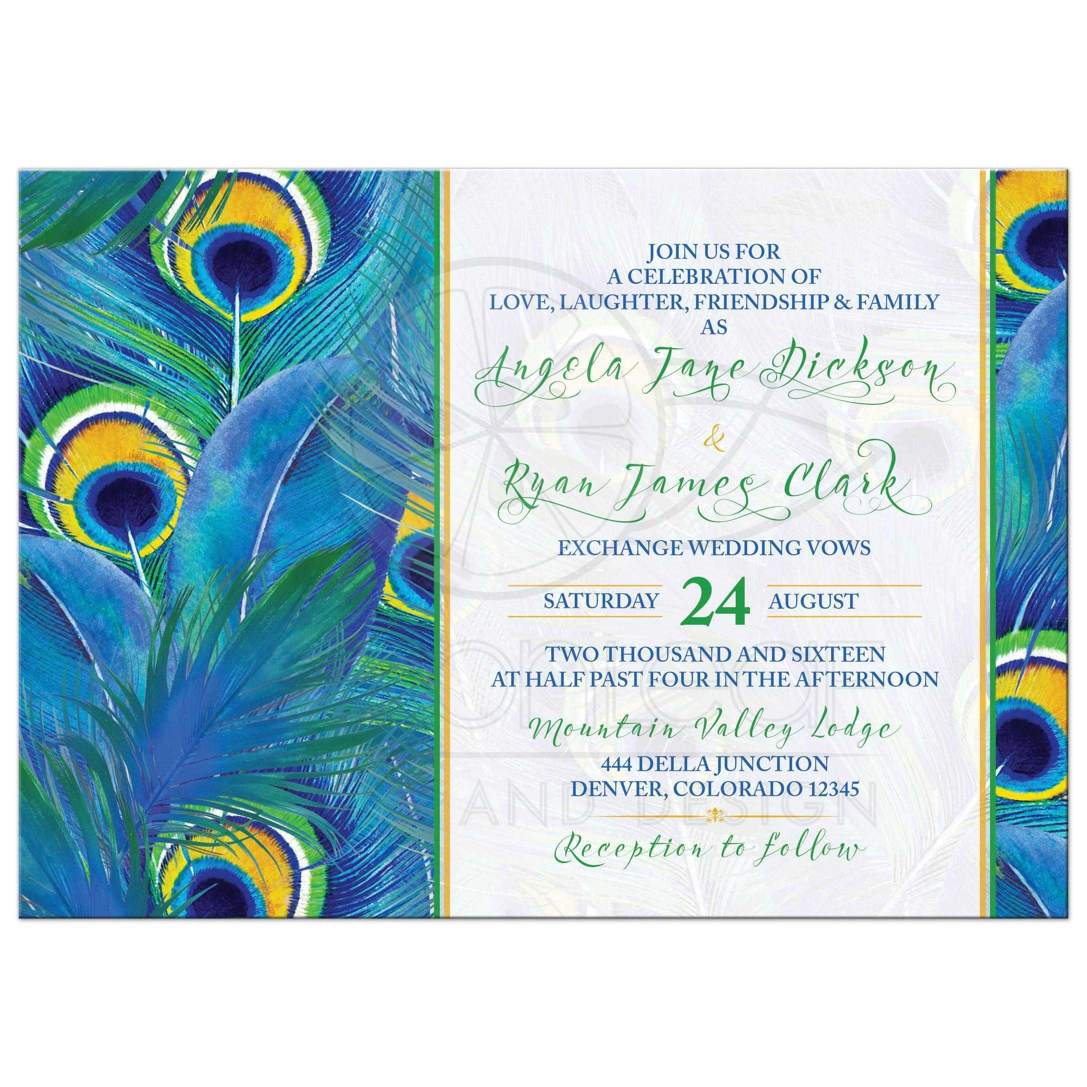 Peacock Feather Wedding Invitation Watercolor Blue