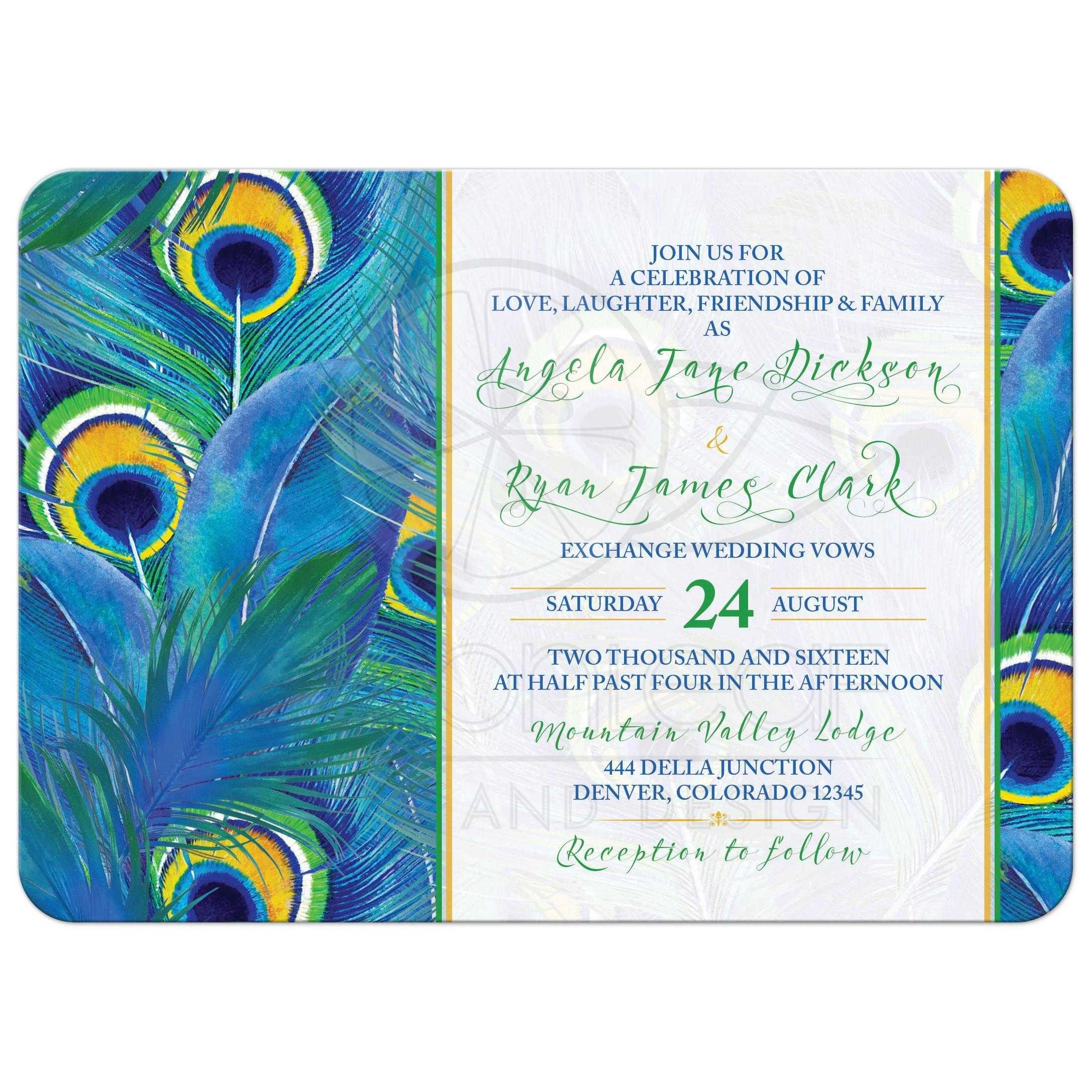 Peacock feather wedding invitation watercolor blue for Peacock wedding invitations with photo