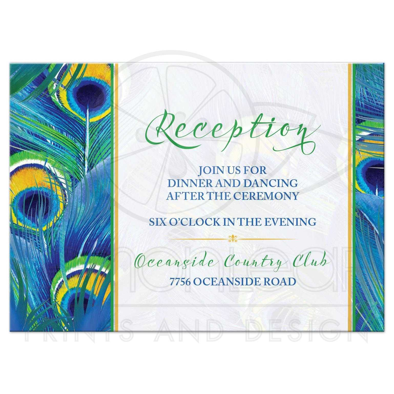 peacock feather wedding reception card watercolor blue green yellow