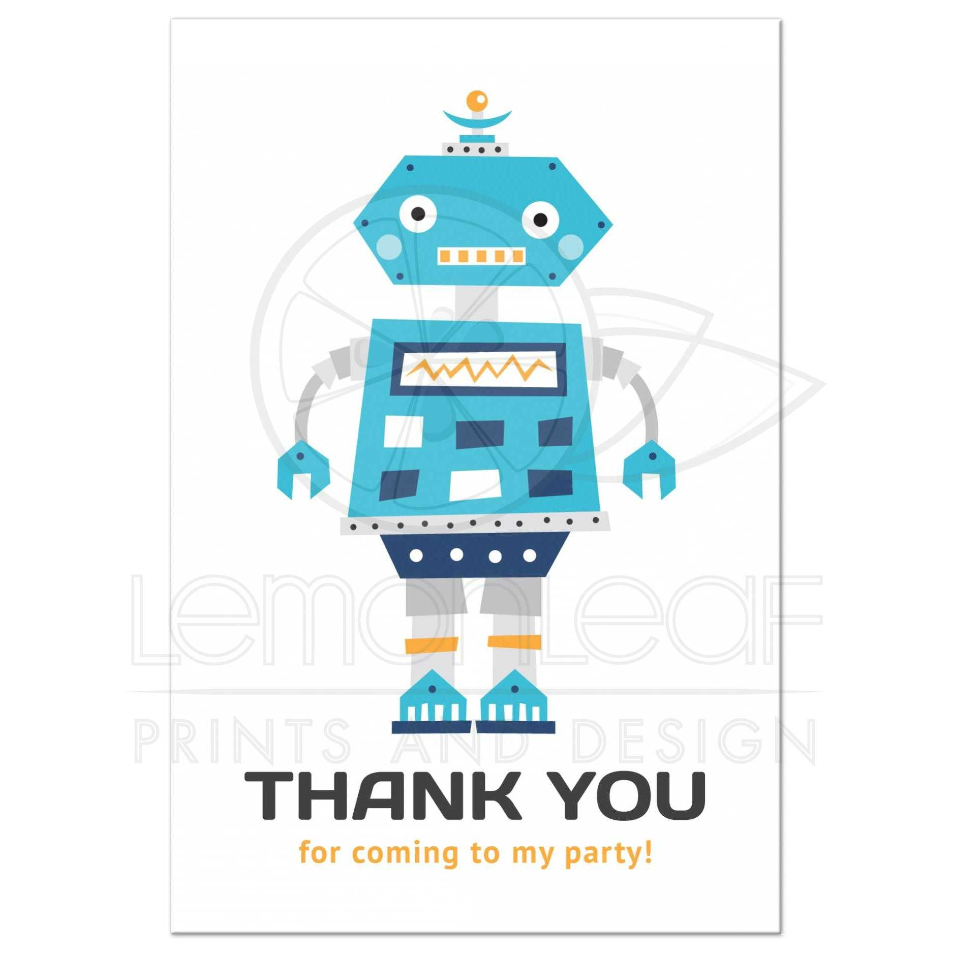 Personalised Kids Robot Themed Birthday Party Invitations /& Thank You Cards
