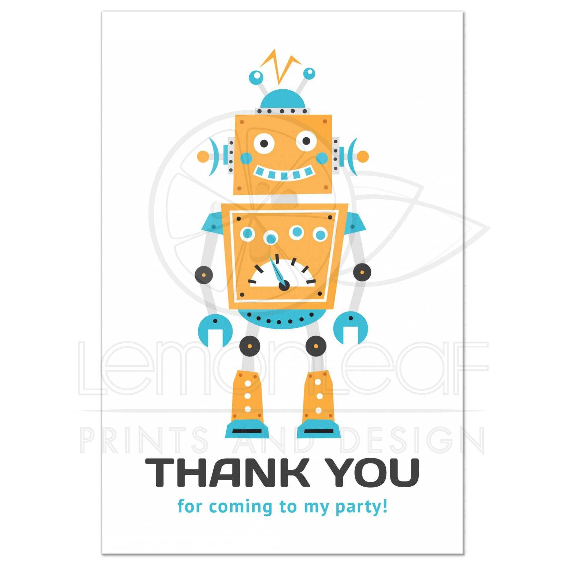 Robot themed birthday thank you for ing to my party postcard