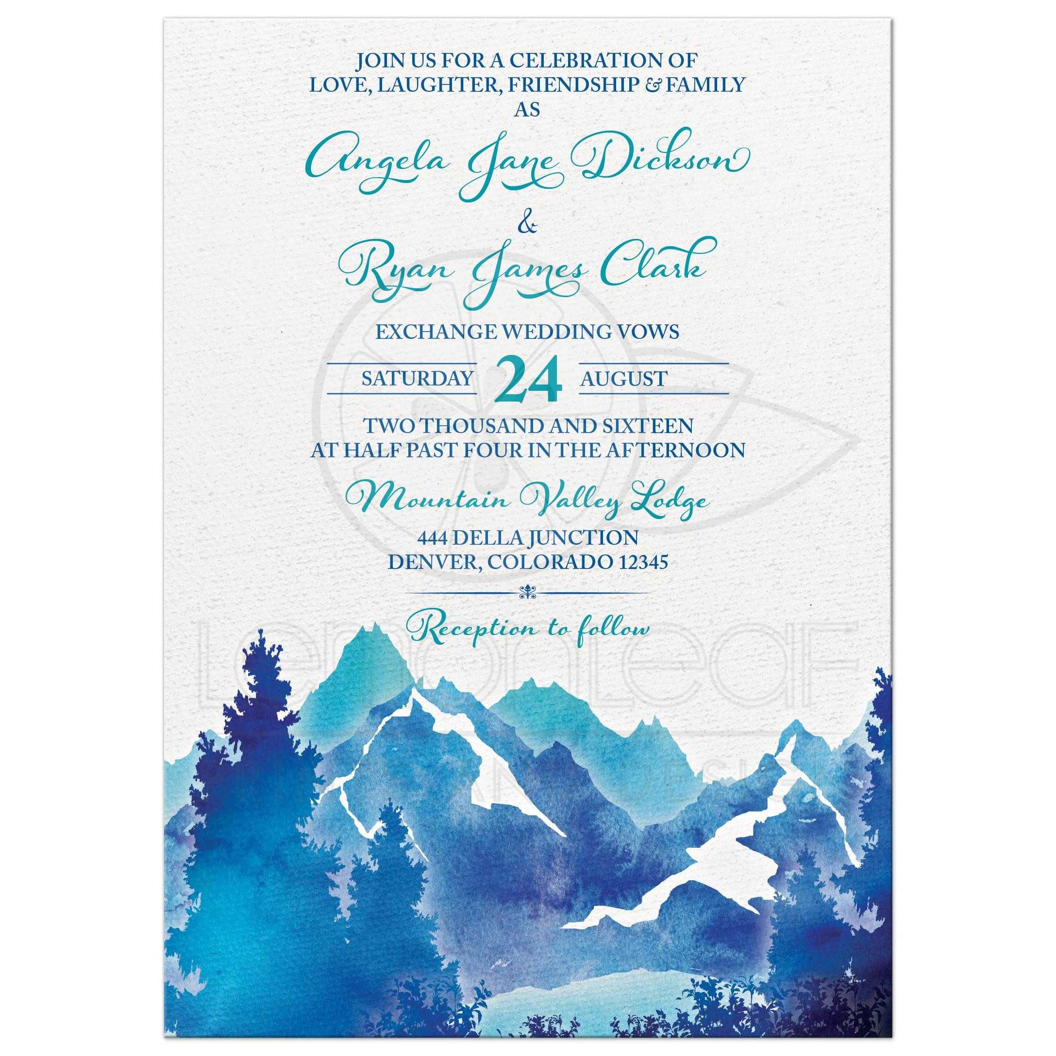 Royal Blue And Turquoise Watercolor Painting Style Mountain Wedding Invitation