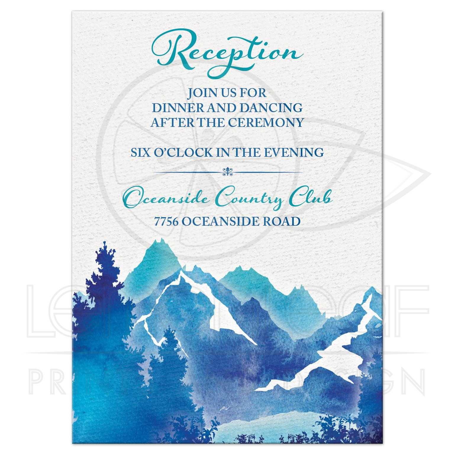 Mountain Wedding Reception Card | Watercolor | Royal Blue Turquoise