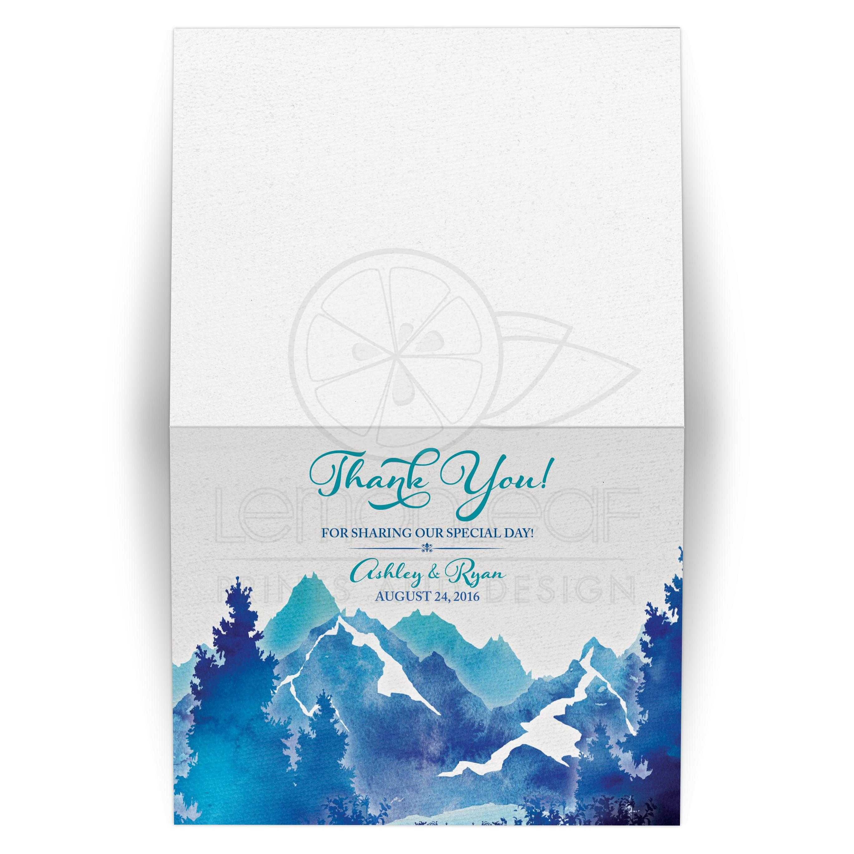 royal blue and turquoise watercolor painting mountain scene wedding thank you card