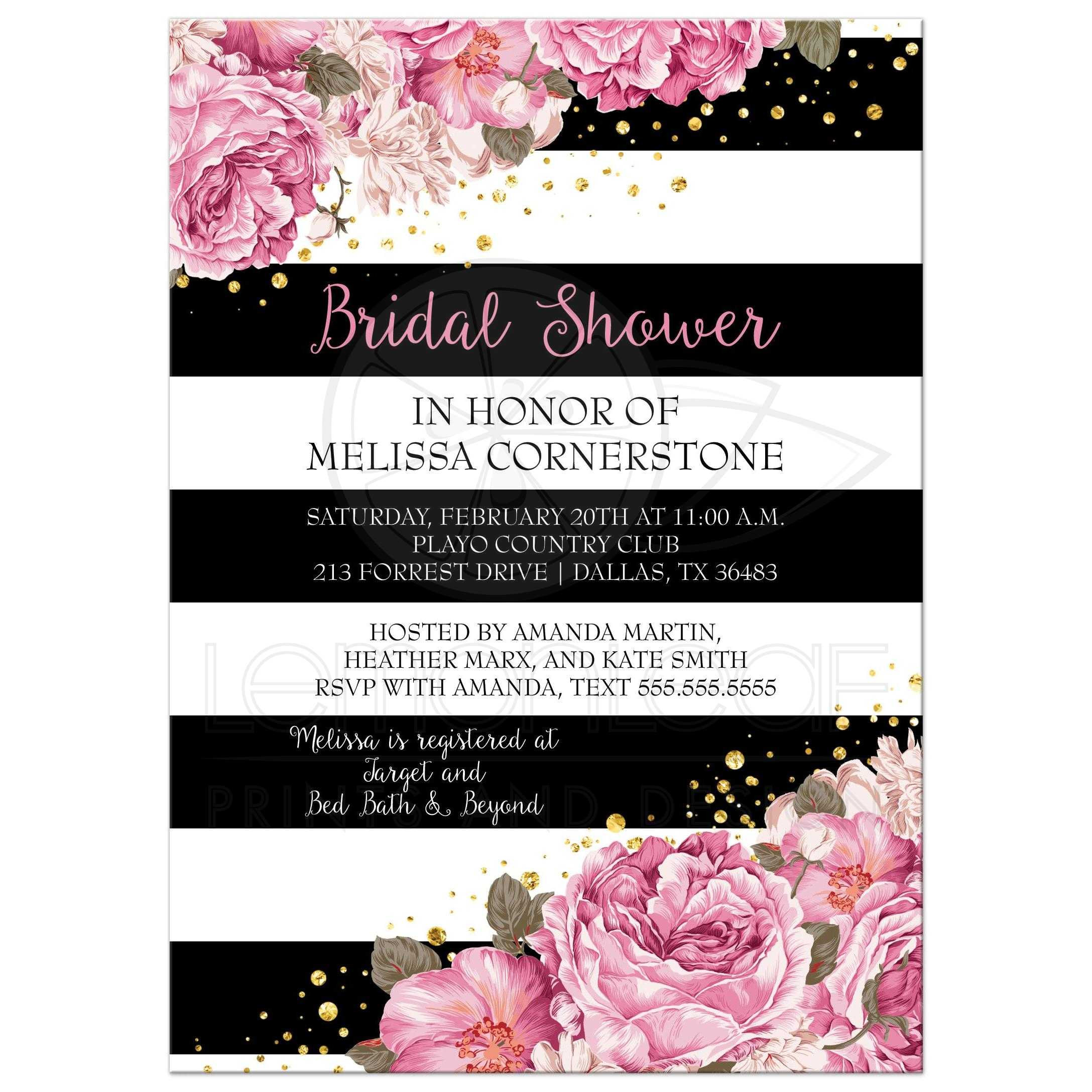 Bridal Shower Invitation - Black Stripes, Pink Flowers and Gold