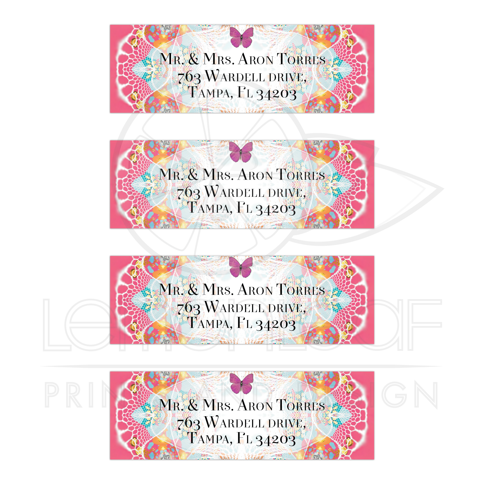 pink butterflies fractal lace return address labels