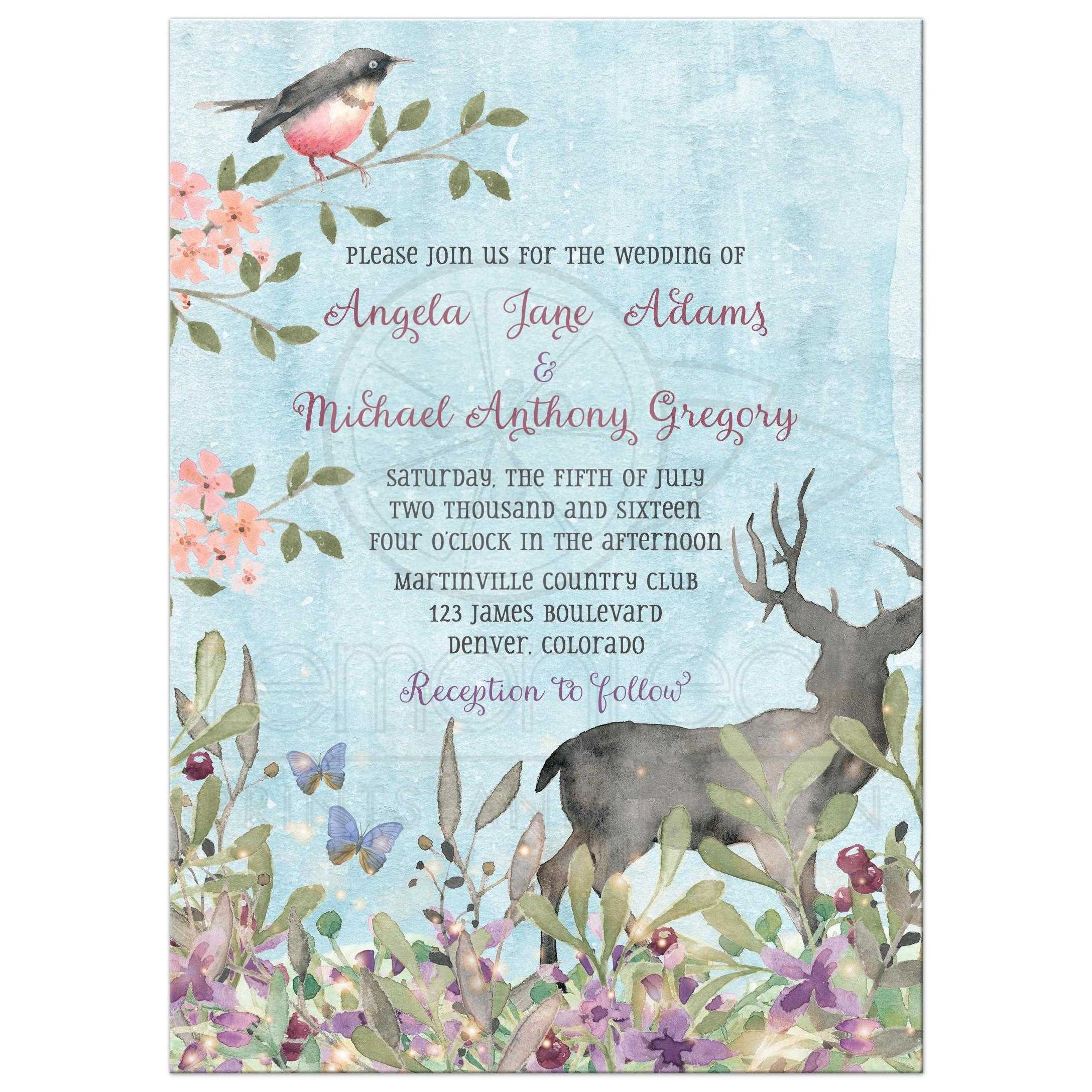 woodland forest wedding invitation watercolor deer bird woodland forest wedding invitation watercolor deer bird