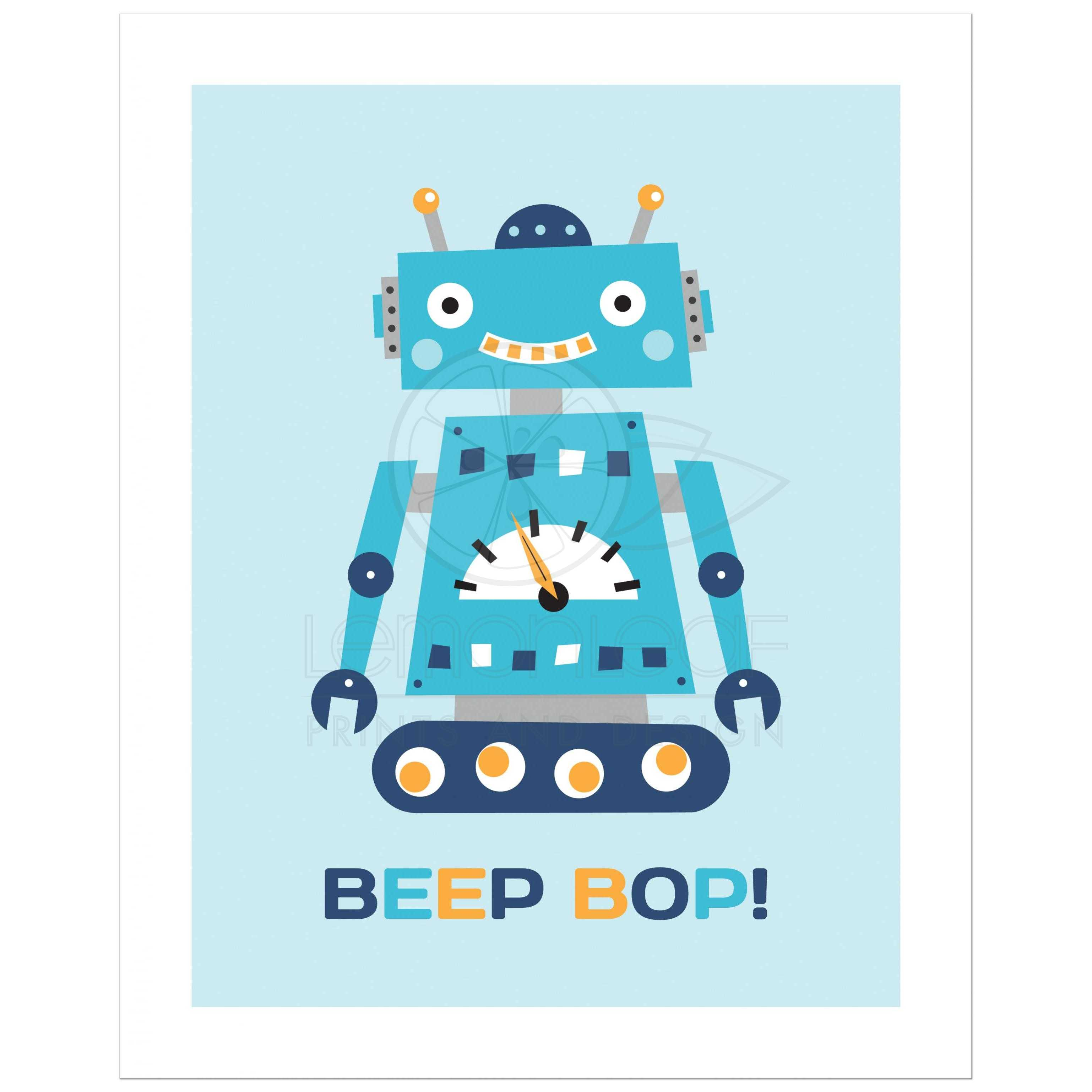 retro robot nursery wall art print with text  u0026quot beep bop u0026quot