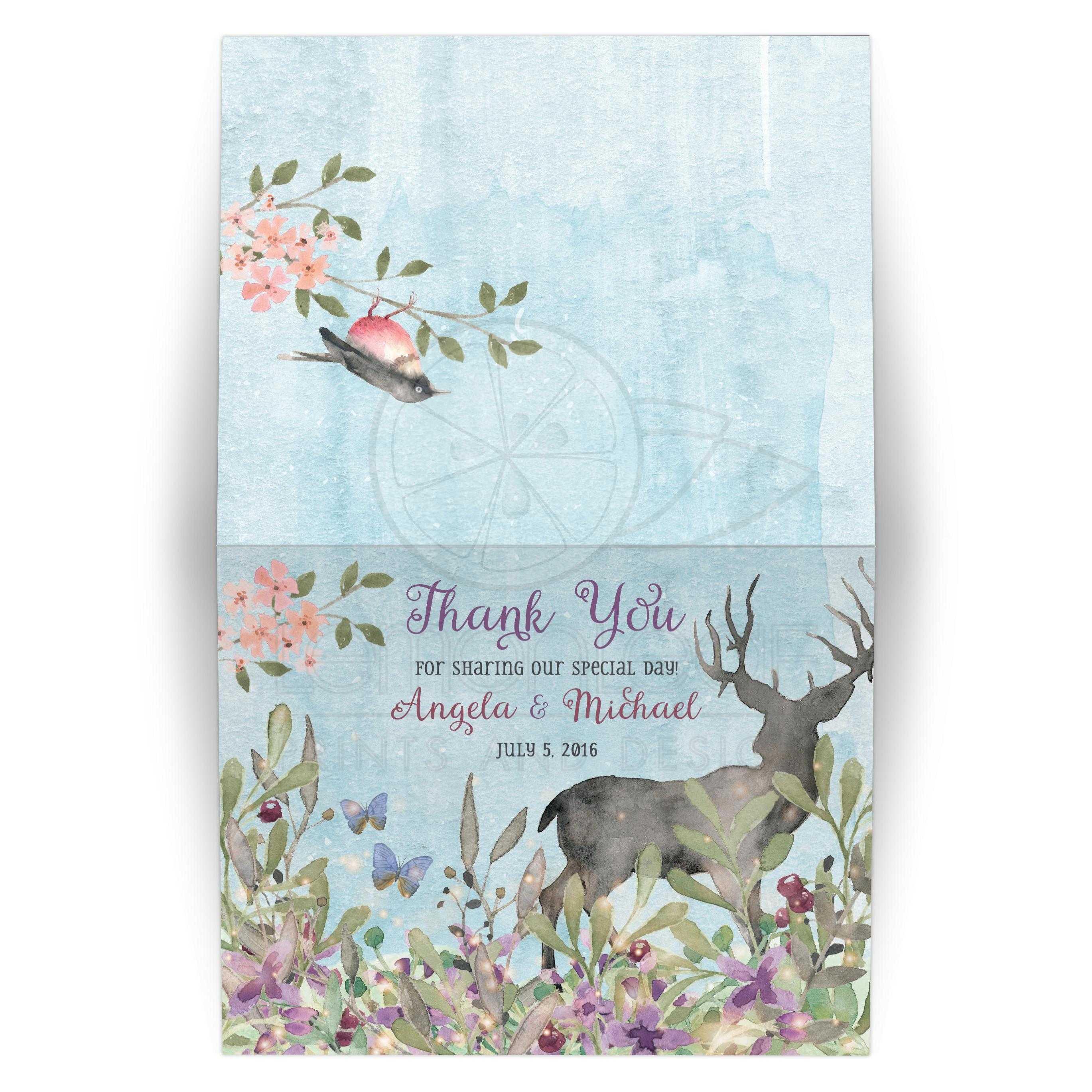 woodland forest wedding thank you card watercolor deer butterflies