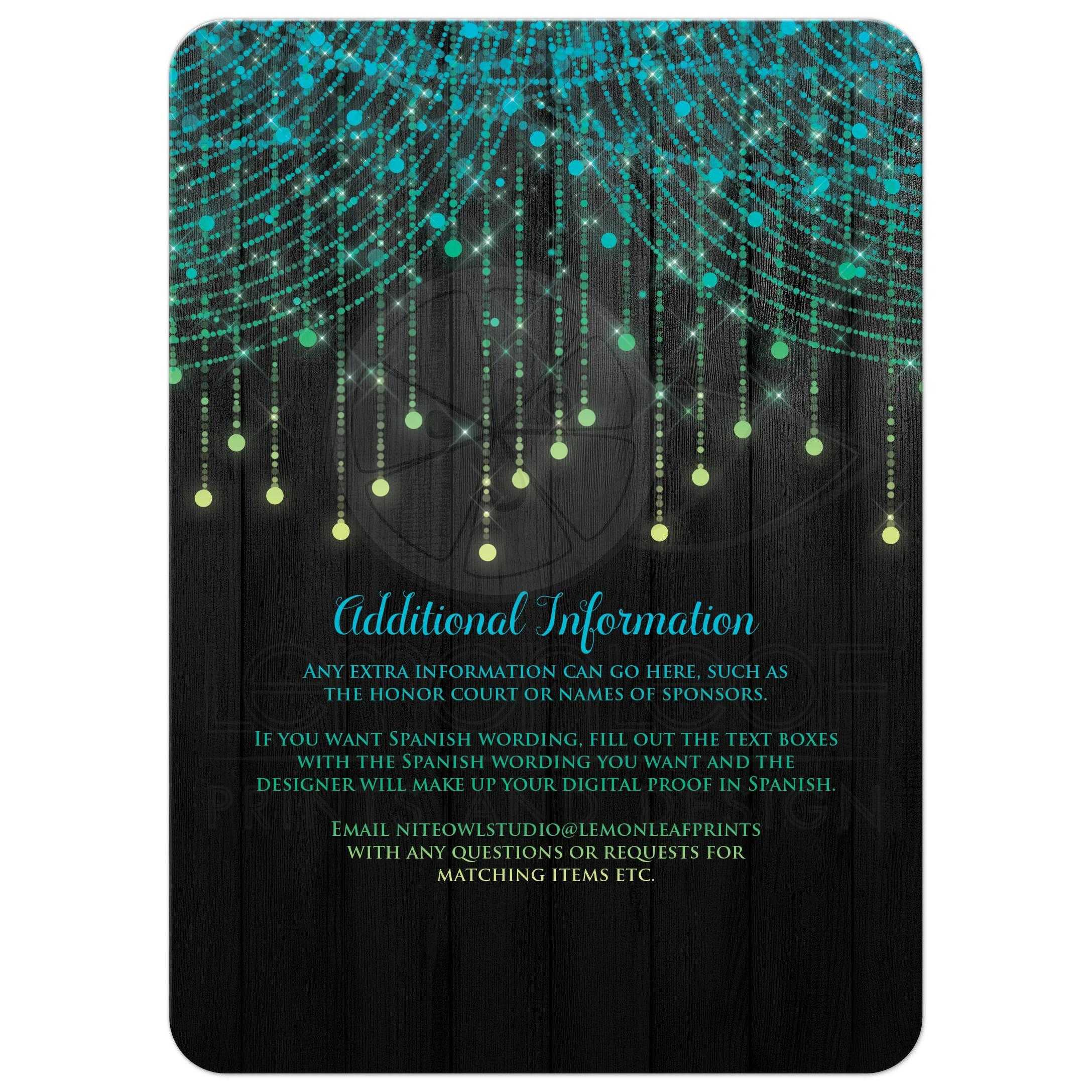 Quinceañera Invitation | Lime, Turquoise, Yellow, Black Twinkle ...