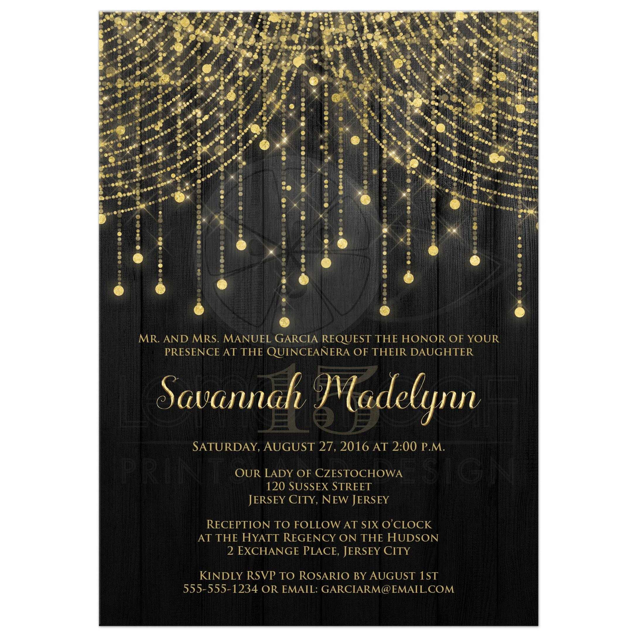 6a82f7c9b2 Great black and gold Quinceanera party invitations with streaming twinkle  lights