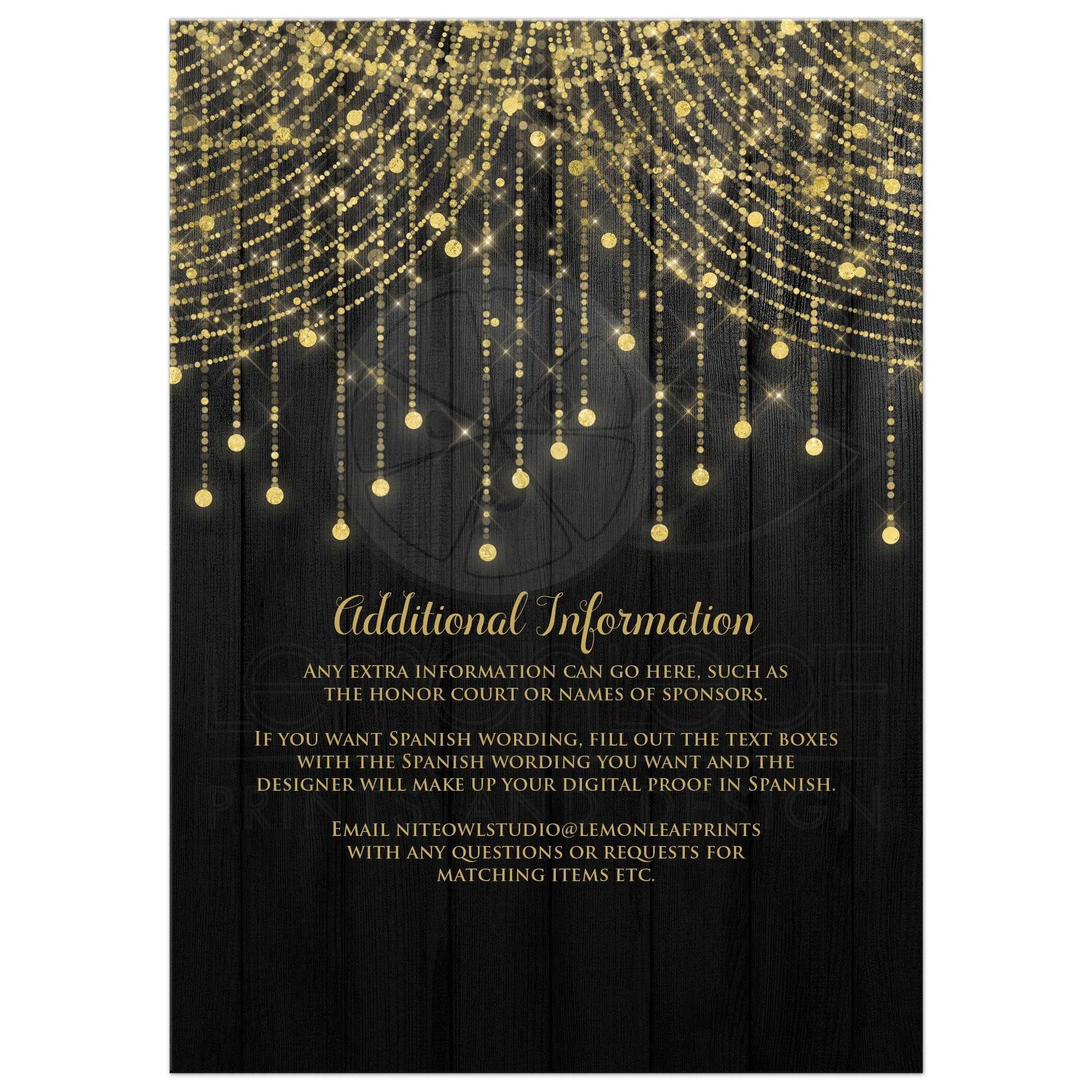 Quinceañera Invitation | Black and Gold Twinkle Light Cascades