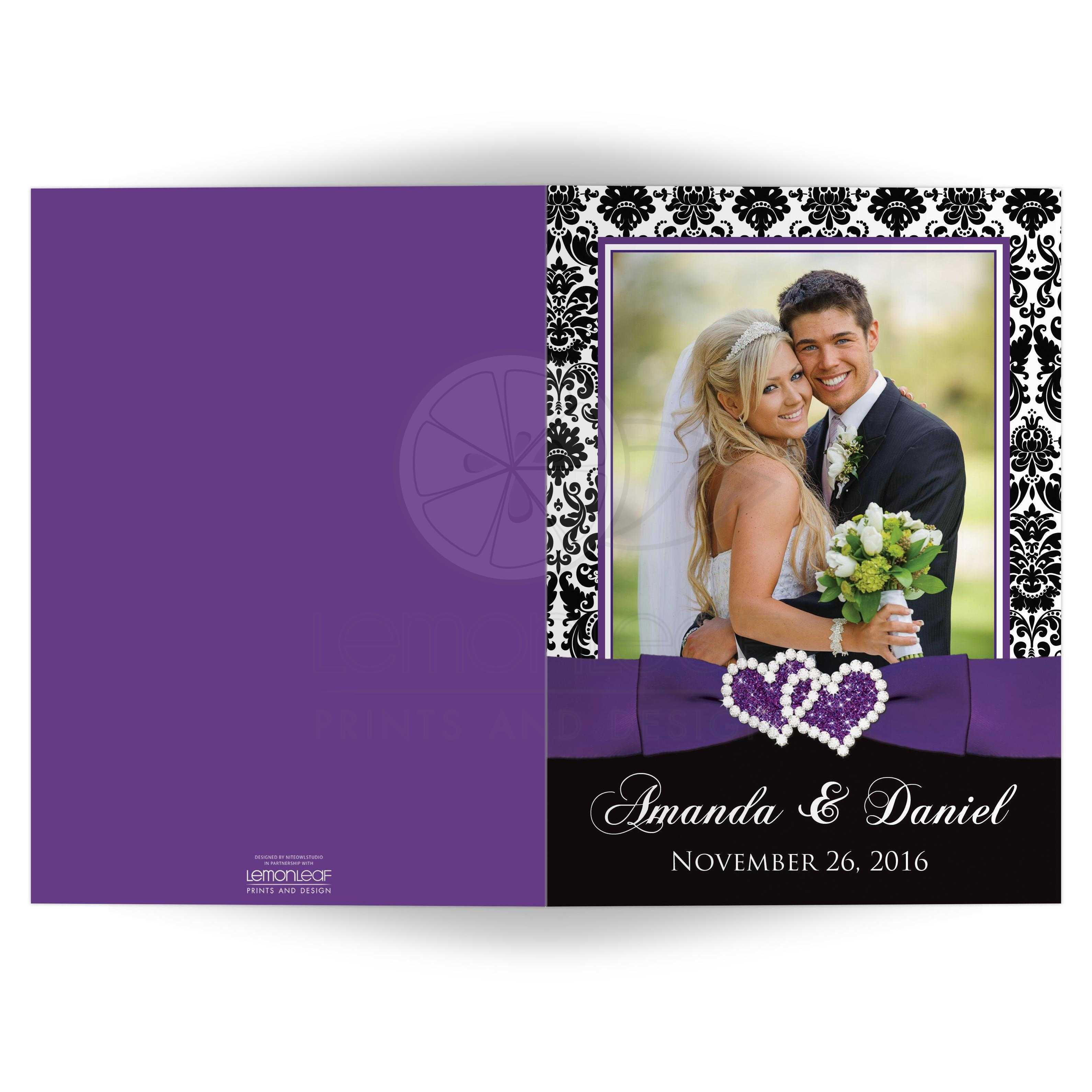Great Purple Black And White Damask Pattern Photo Templates Wedding Thank You Card With
