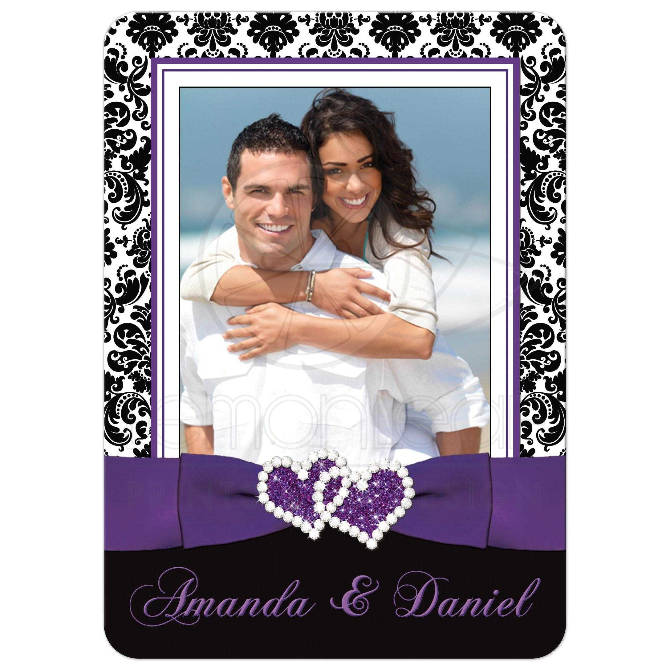 Best Purple Black And White Damask Pattern Photo Template Wedding Invite With Ribbon