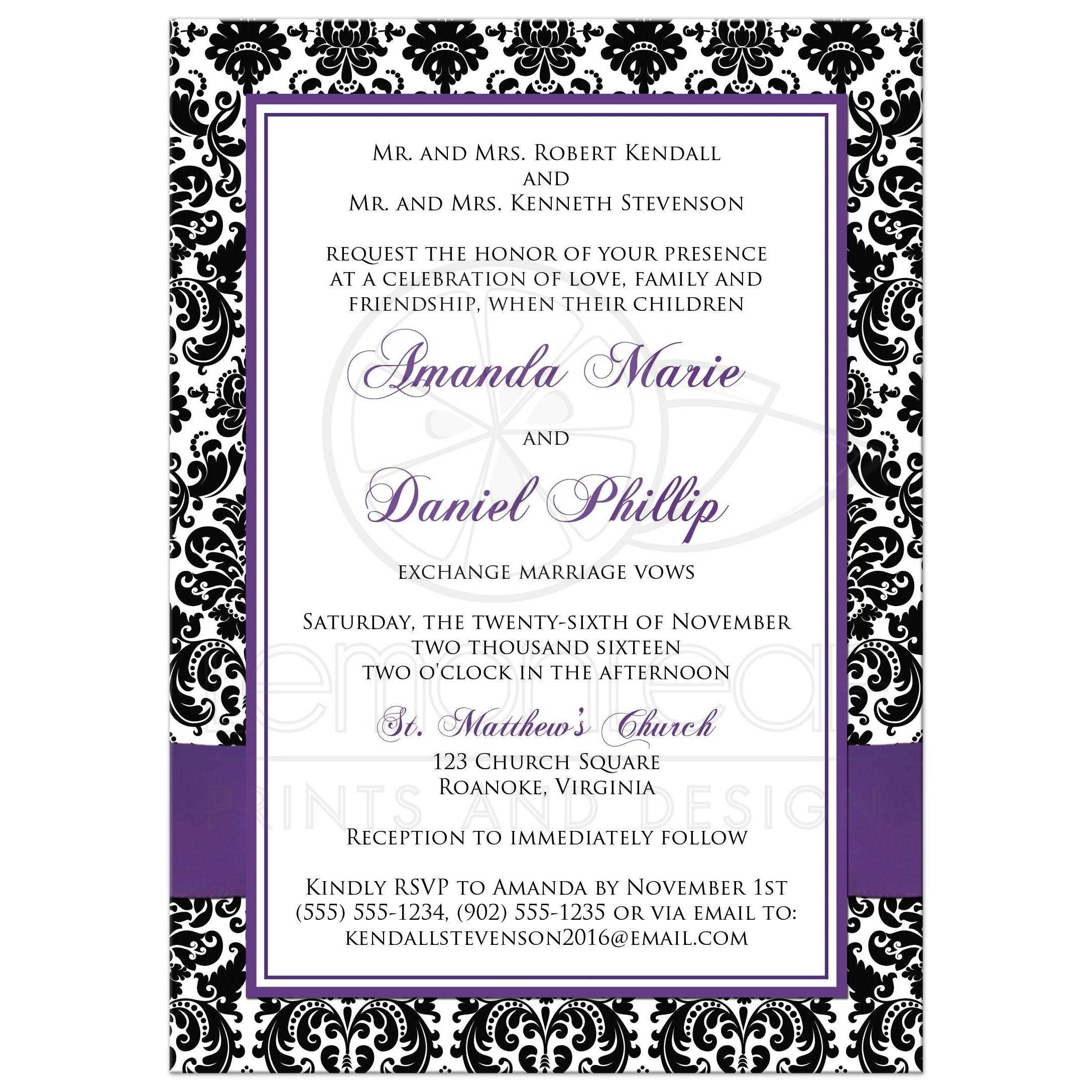 PHOTO Template Wedding Invitation | Black and White Damask | Purple ...