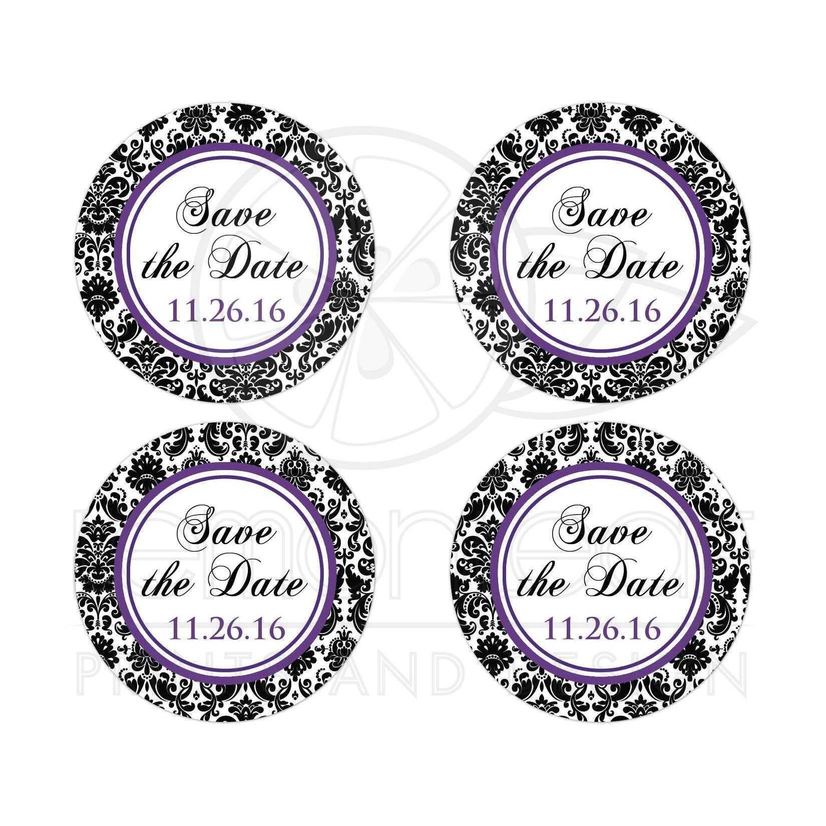 save the date wedding sticker purple black and white damask