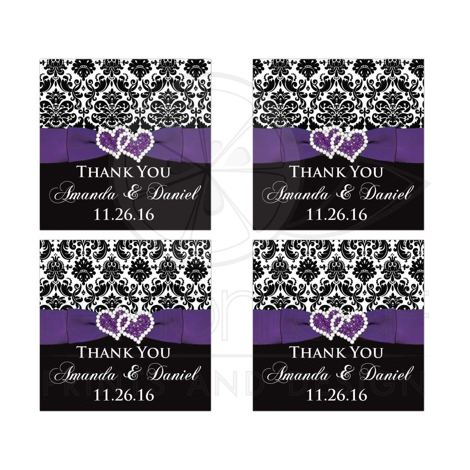 Great Personalized Purple Black And White Damask Pattern Wedding Favor Stickers With Ribbon