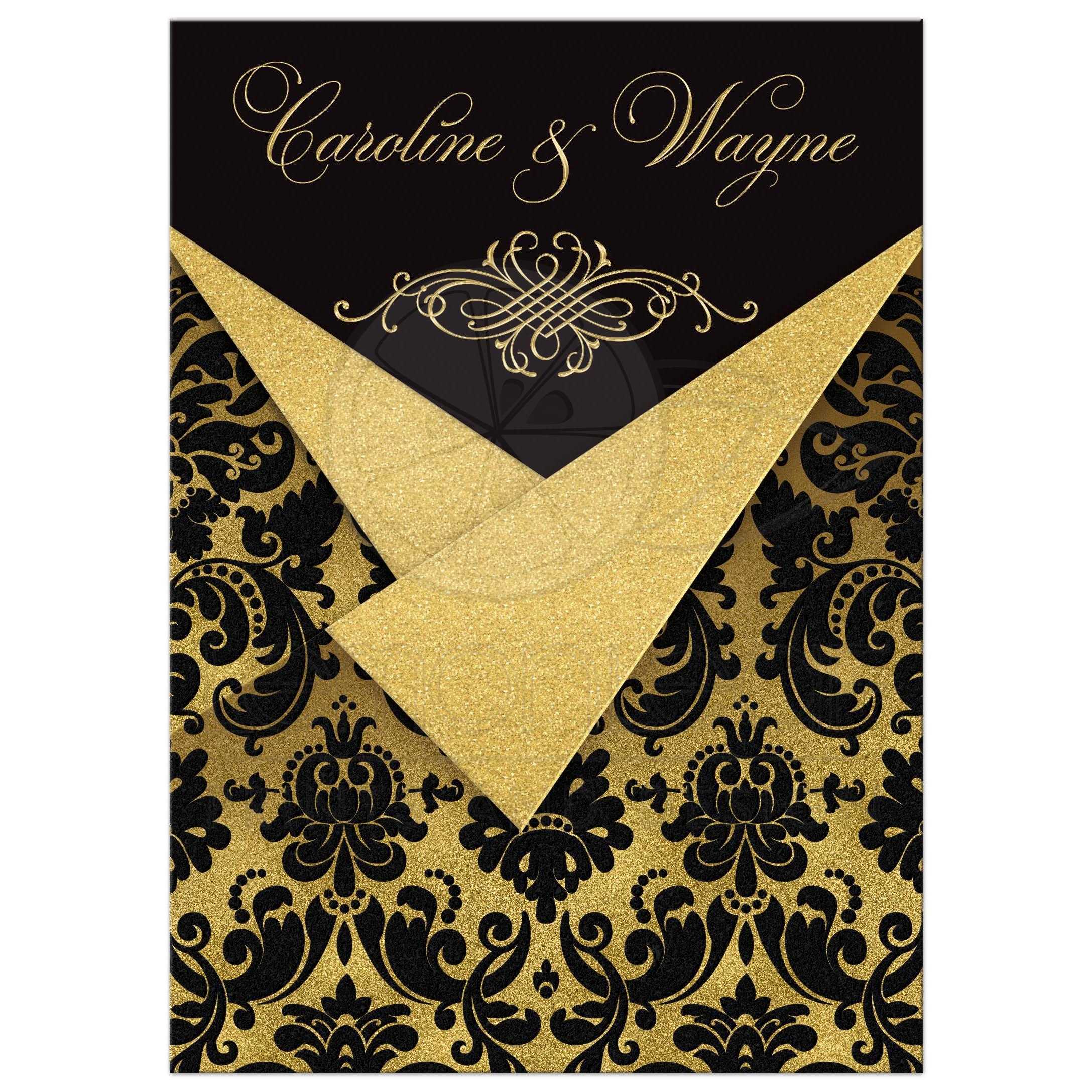 Wedding Invitation Black Damask Faux Gold Foil