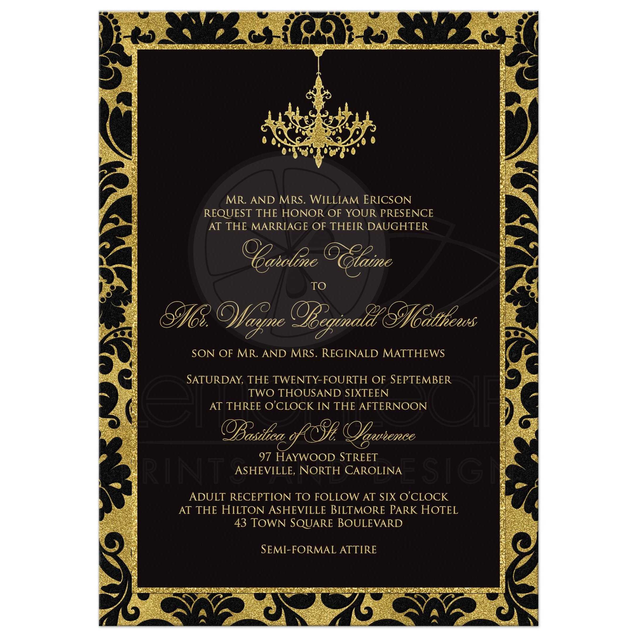 Wedding Invitation Black Damask Faux Gold Foil – Damask Birthday Invitations