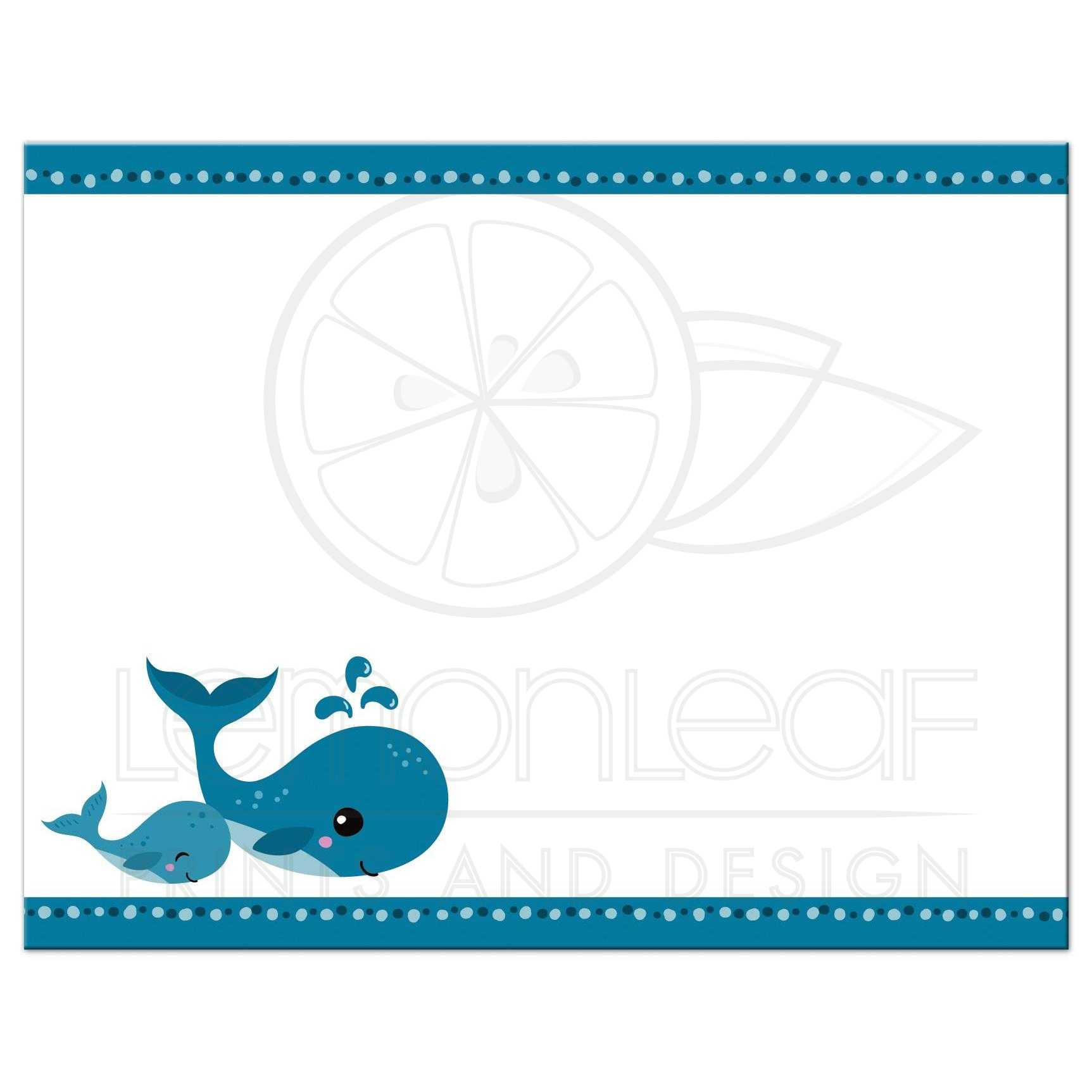 Mommy and baby whales cute blank note card stationery – Baby Shower Thank You Notes