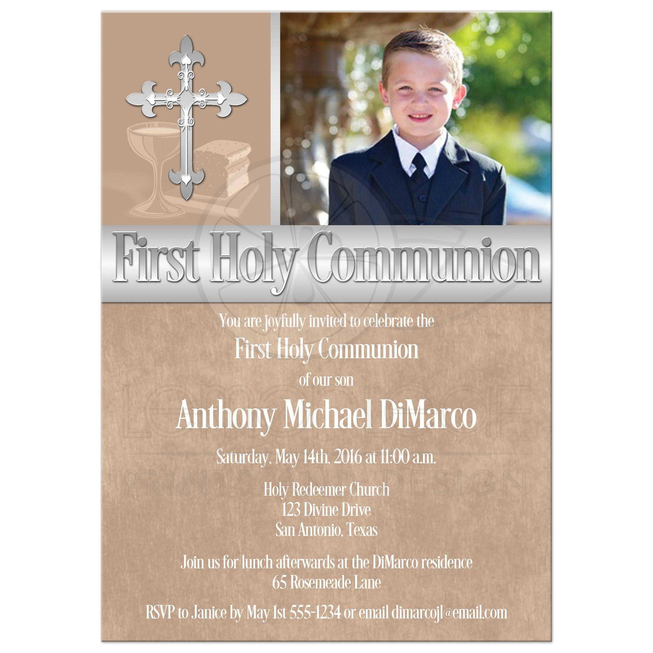 First holy communion invitation photo template brown great taupe brown first holy communion invitations with photo template and intricate silver cross for a solutioingenieria