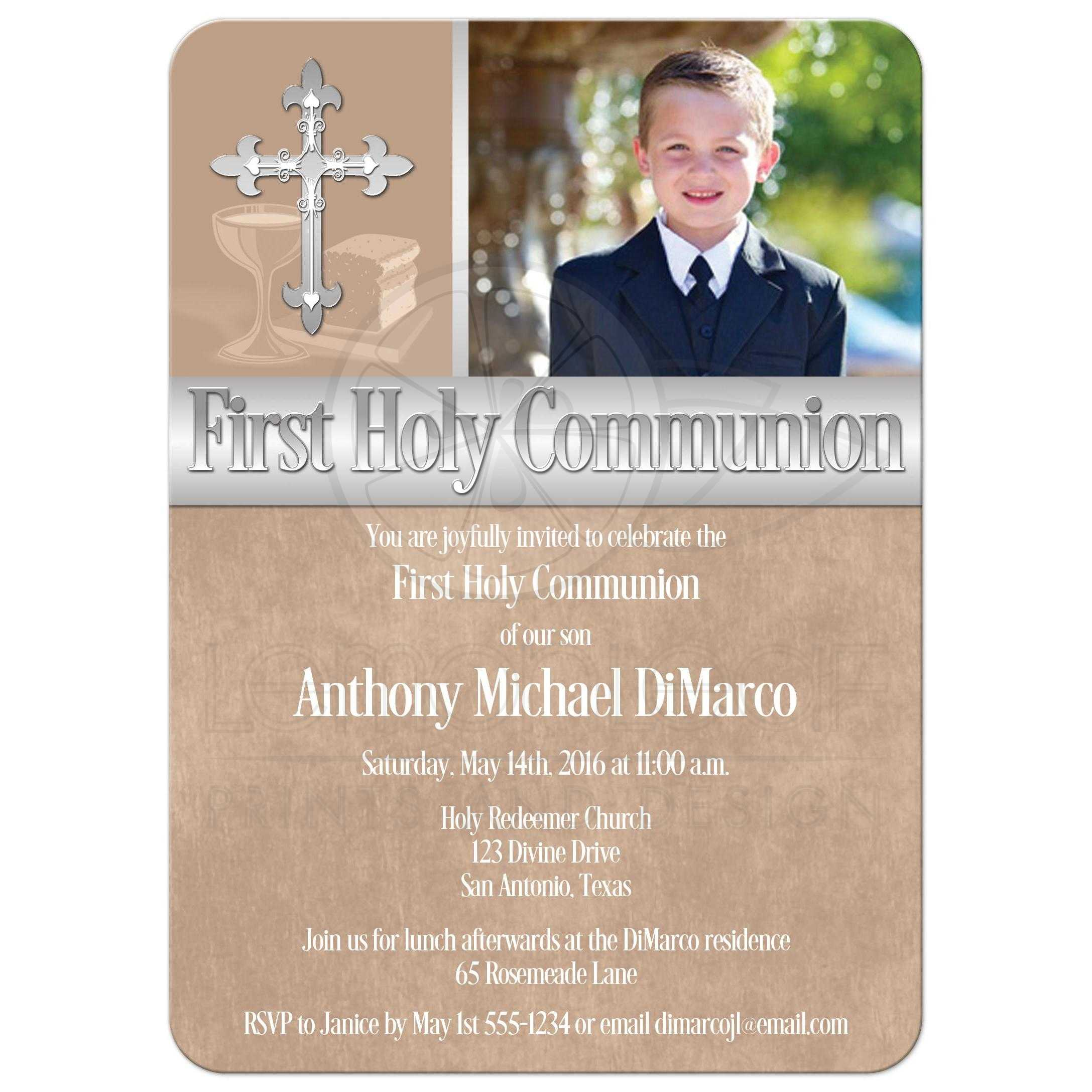 First Holy Communion Invitation  Photo Template  Brown. Fake Hospital Note Template. Soccer Players Profile Template. Facebook Yard Sale App. Graduation Cap Decoration Nursing. Microsoft Office Resume Template Free. Template For Facebook Cover. List Of Post Graduate Football Programs. Monthly Budget Template Excel