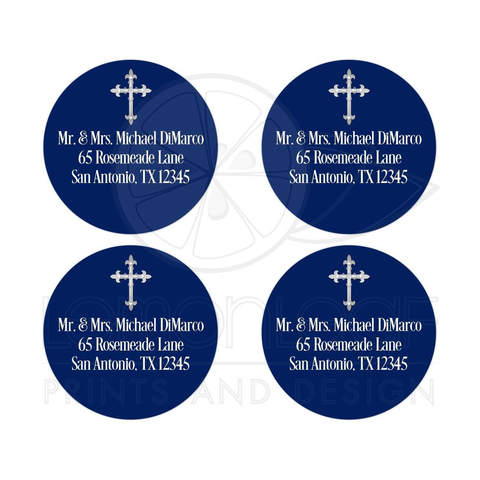 personalized envelope seals or favor stickers navy blue white