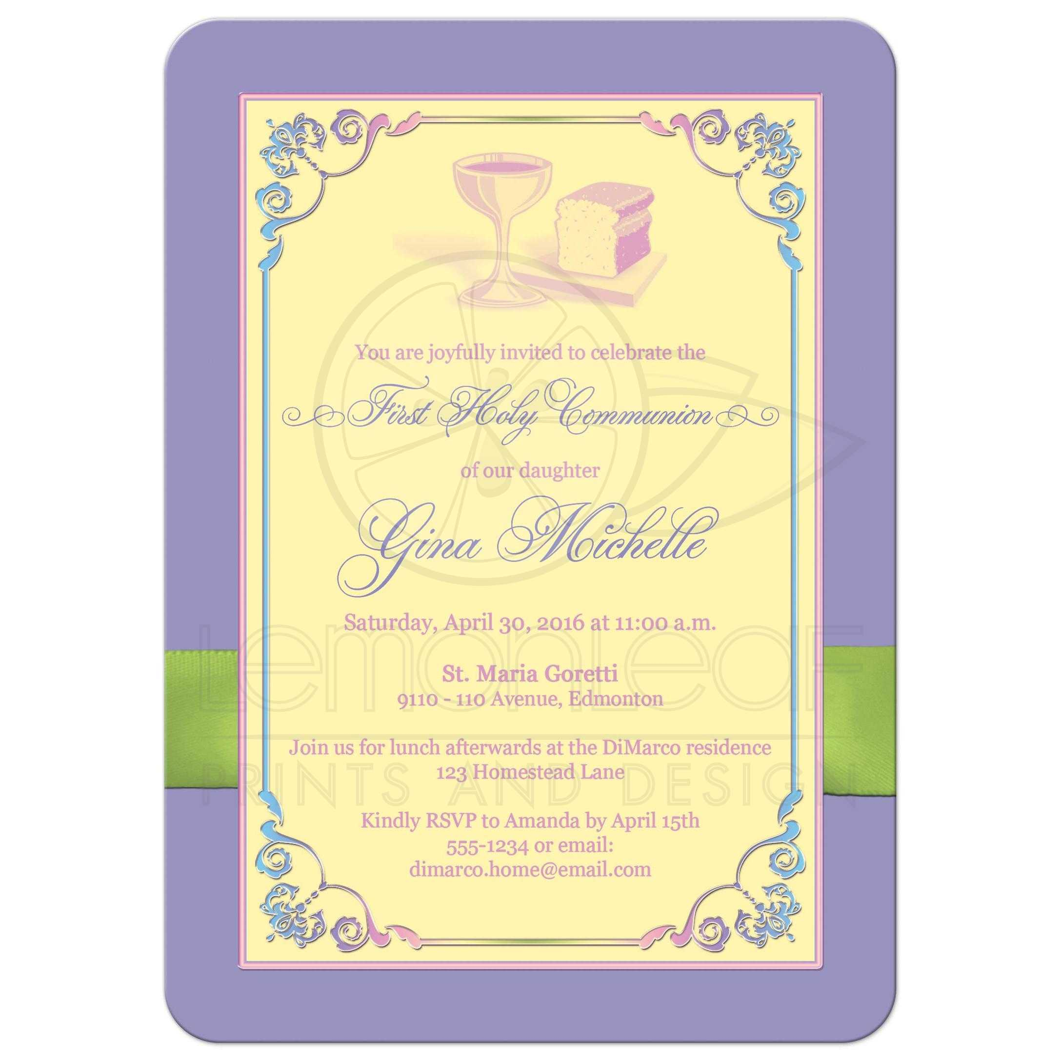 First Holy Communion Photo Template Invitation Yellow Pink Blue