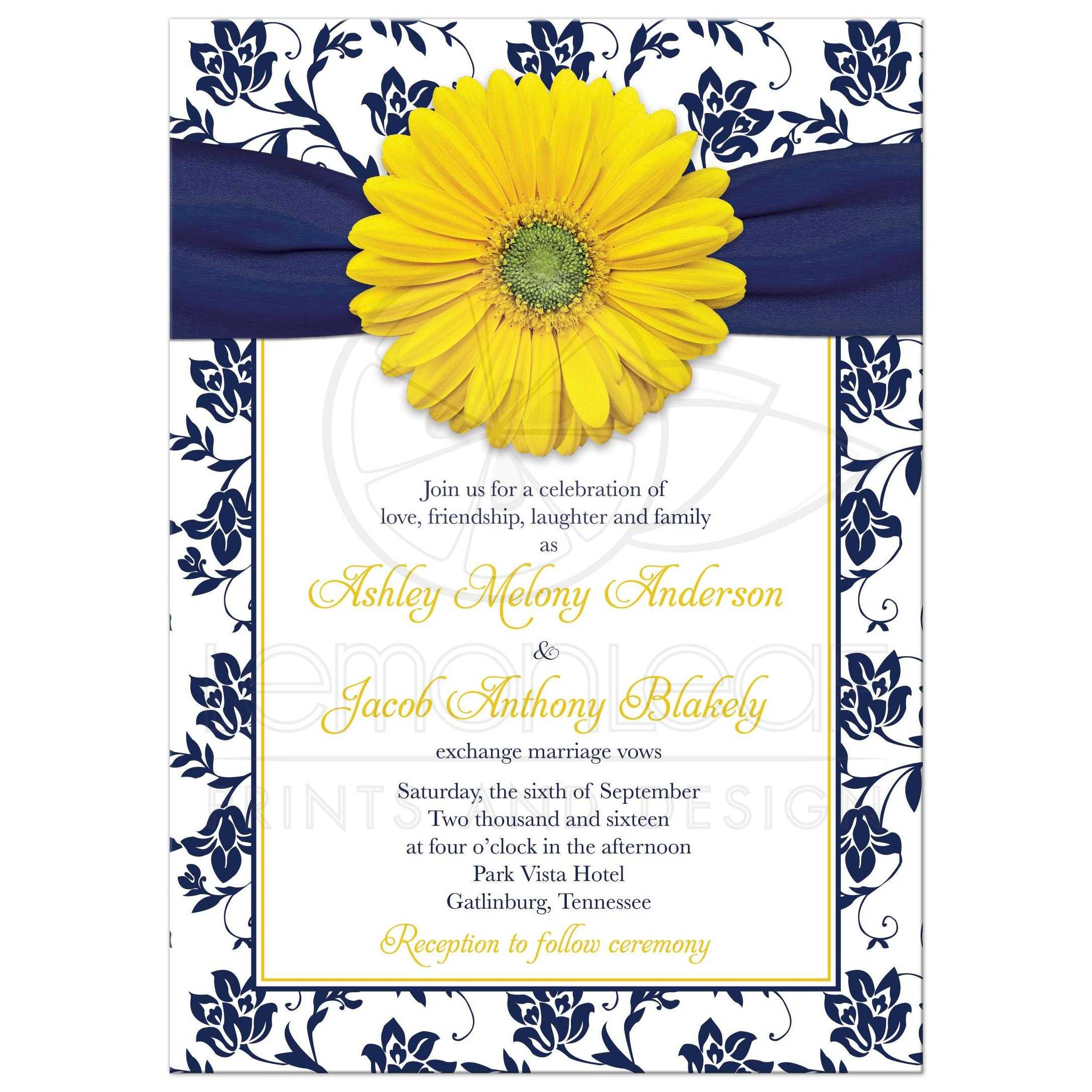 Yellow Gerbera Daisy Flower And Navy Blue Floral Damask Wedding Invitation Front