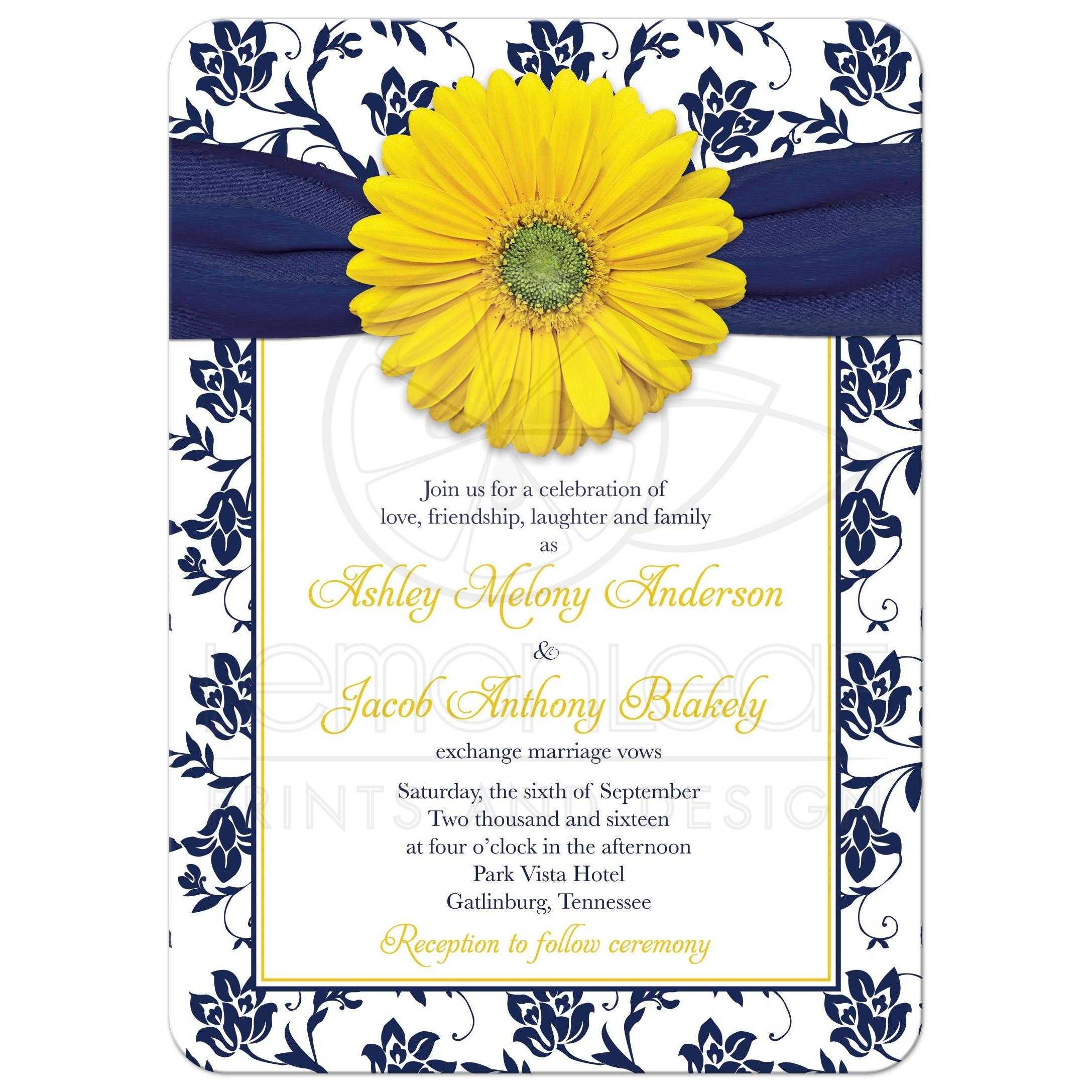 White Daisy Wedding Invitation: Yellow Daisy Navy Floral Wedding Invitation
