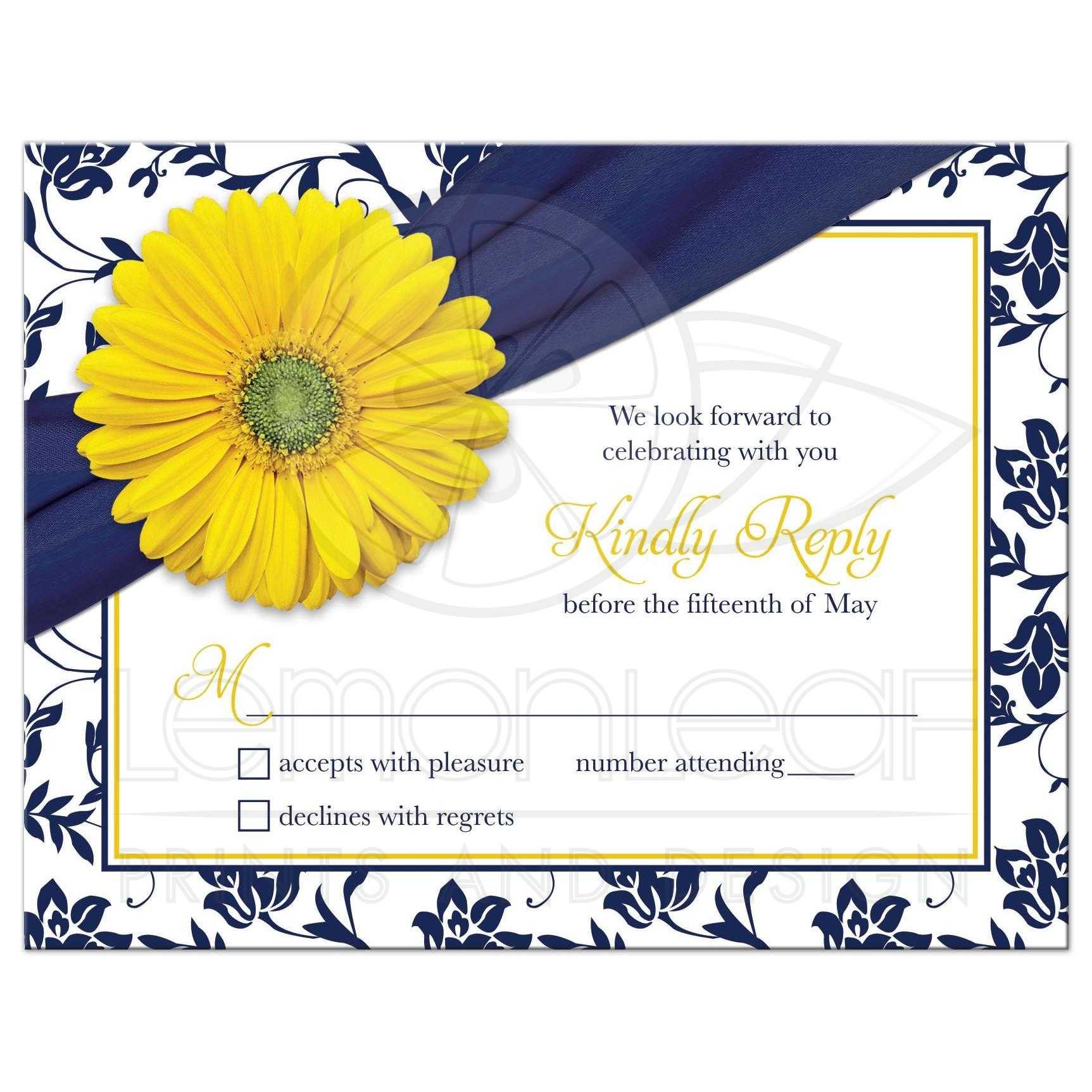 Yellow Daisy Navy Floral Wedding Rsvp Card Navy Blue Yellow Damask