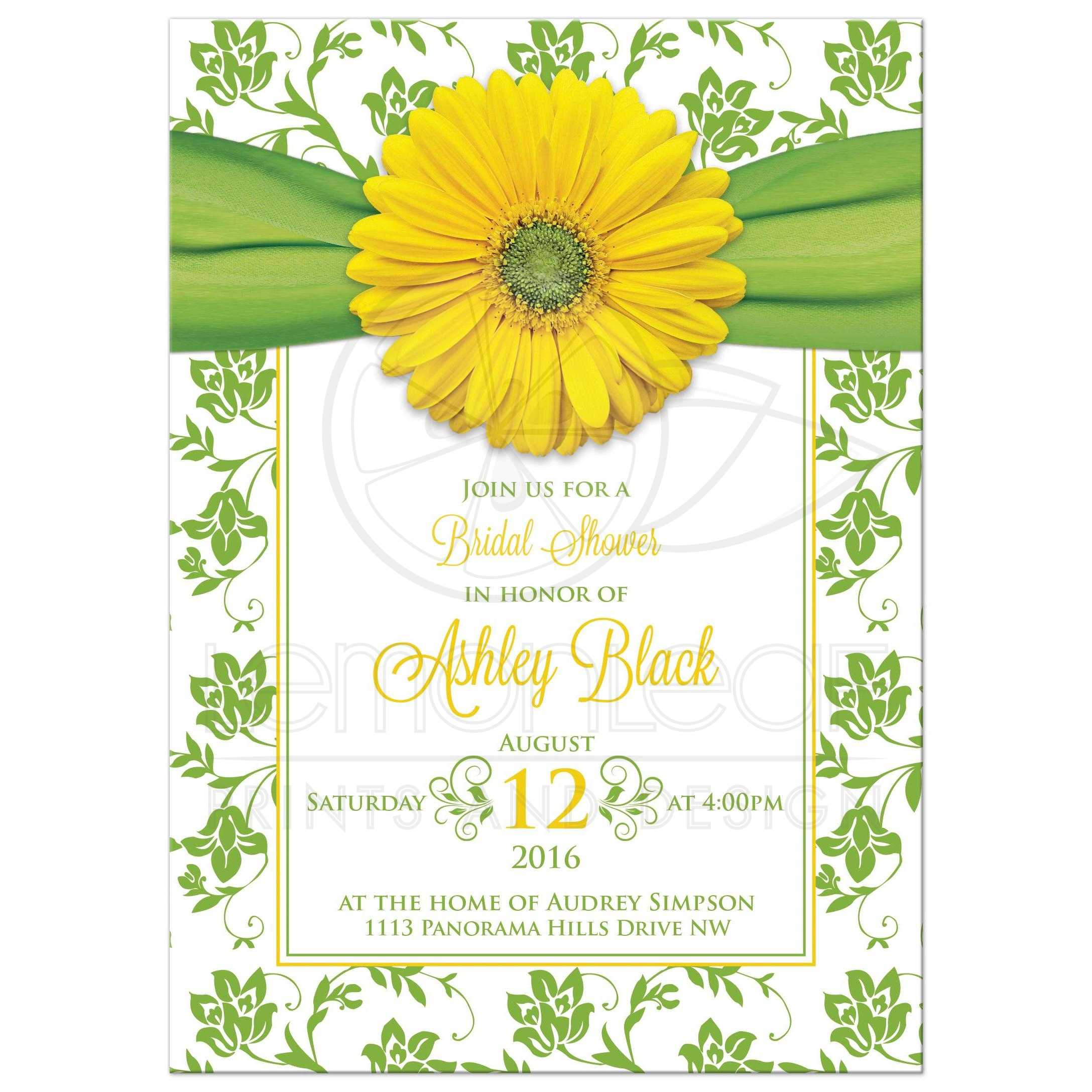 Yellow Daisy Green Floral Bridal Shower Invitation | Green Damask