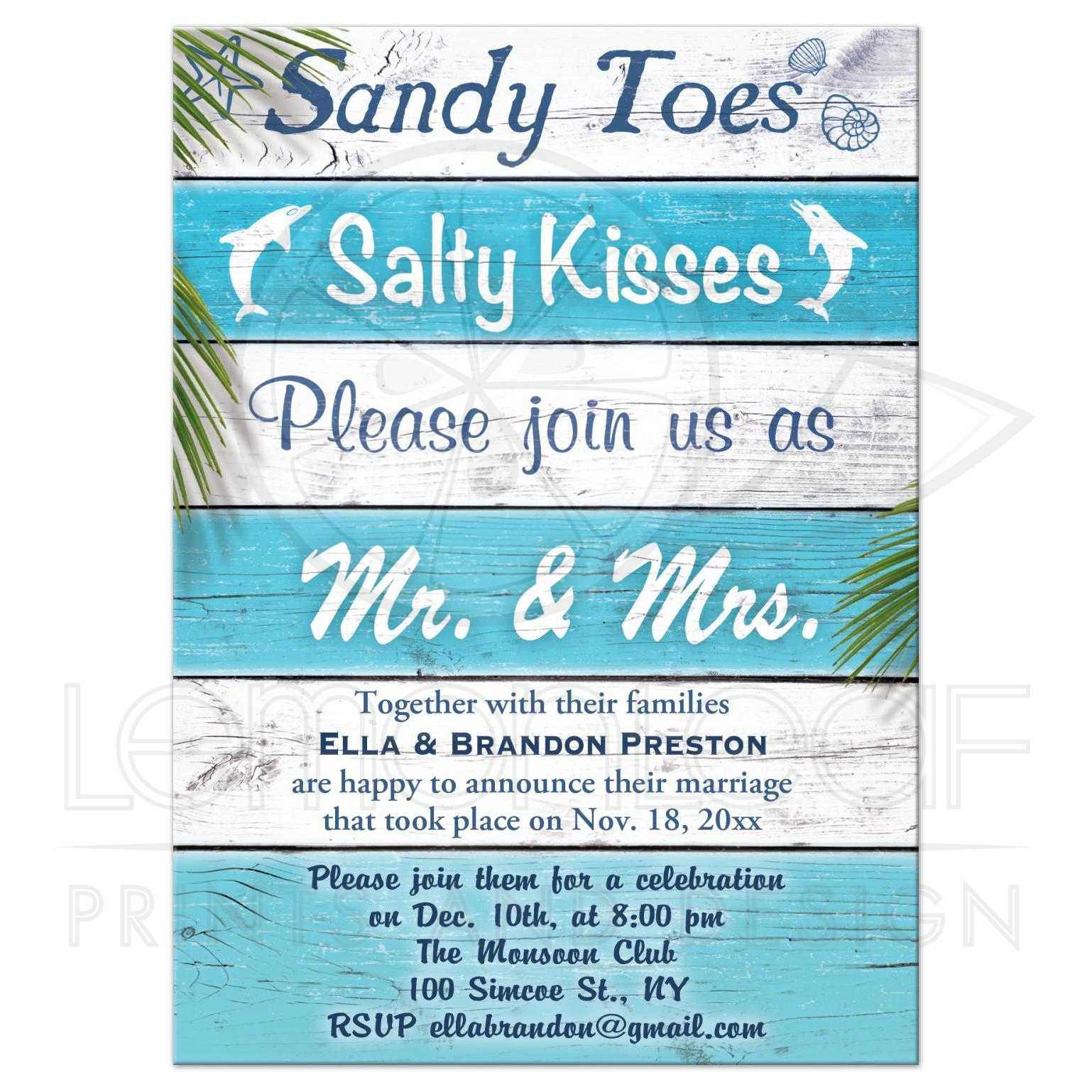 Post Wedding Reception - Turquoise Beach Sandy Toes Salty Kisses