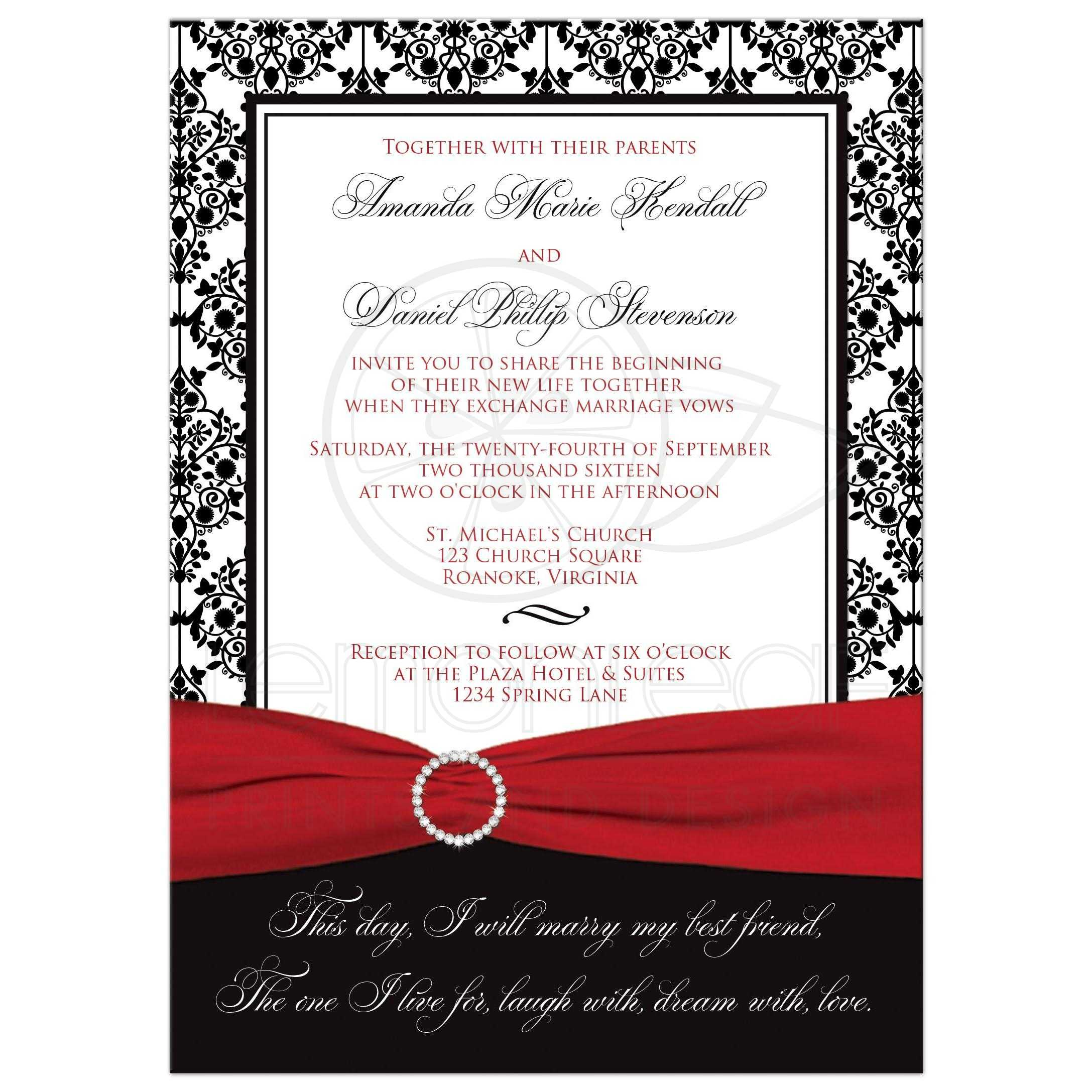Wedding invitation black white damask printed red ribbon best wedding invitation in black and white damask with red ribbon and diamond buckle brooch filmwisefo