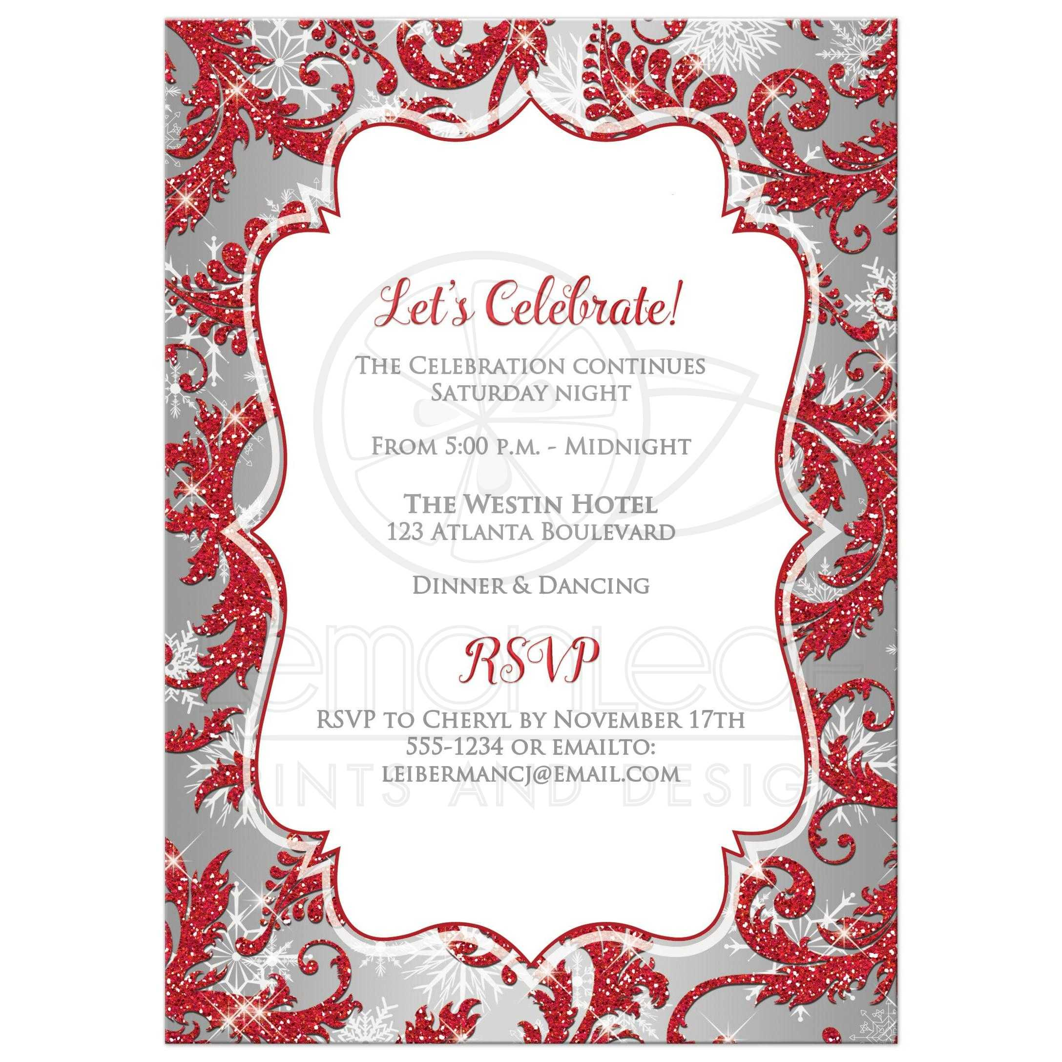 Printable Wedding Invitations Designs With Red And Silver: Winter Wonderland Red, Silver