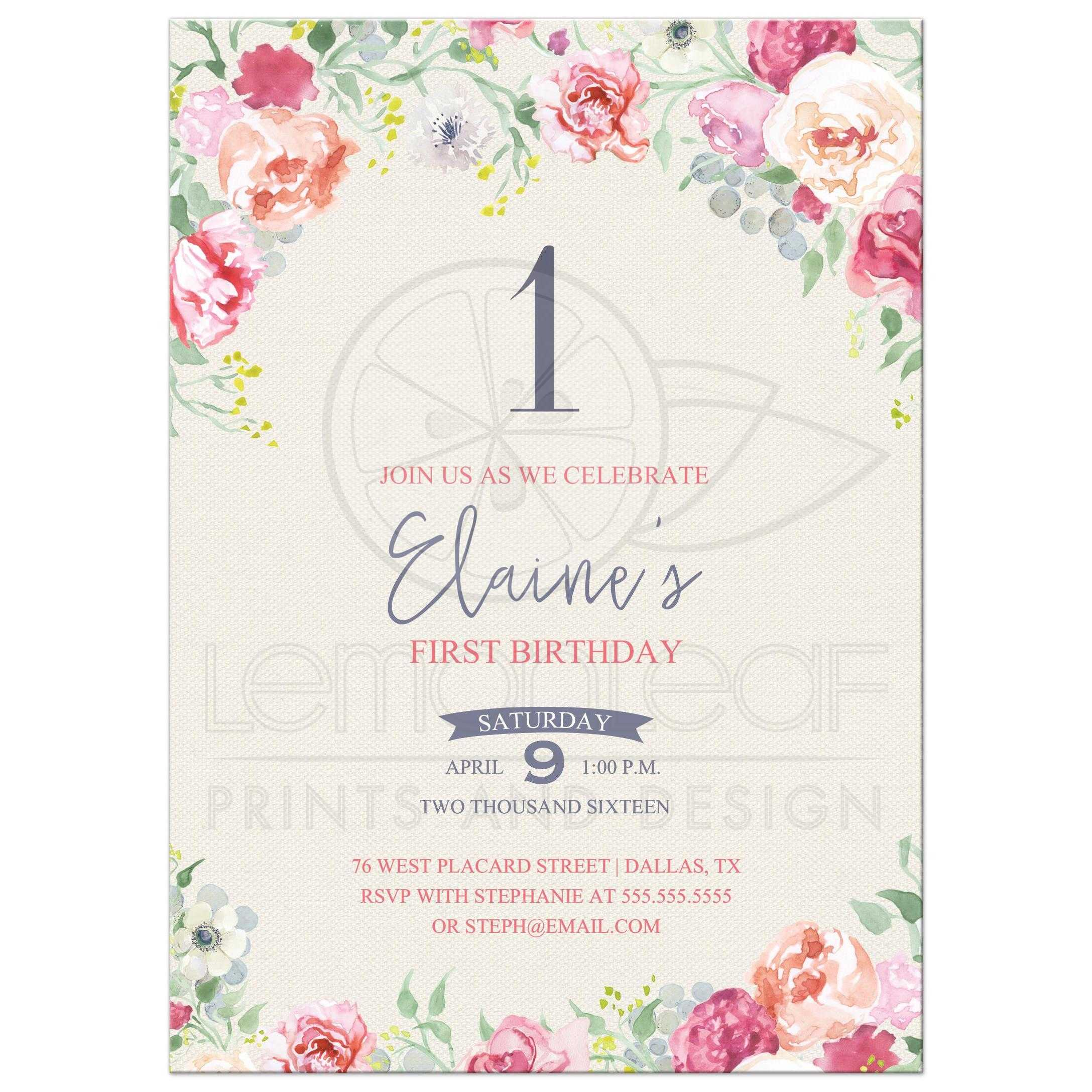 First Birthday Invitation - Pink and Purple Watercolor Flowers