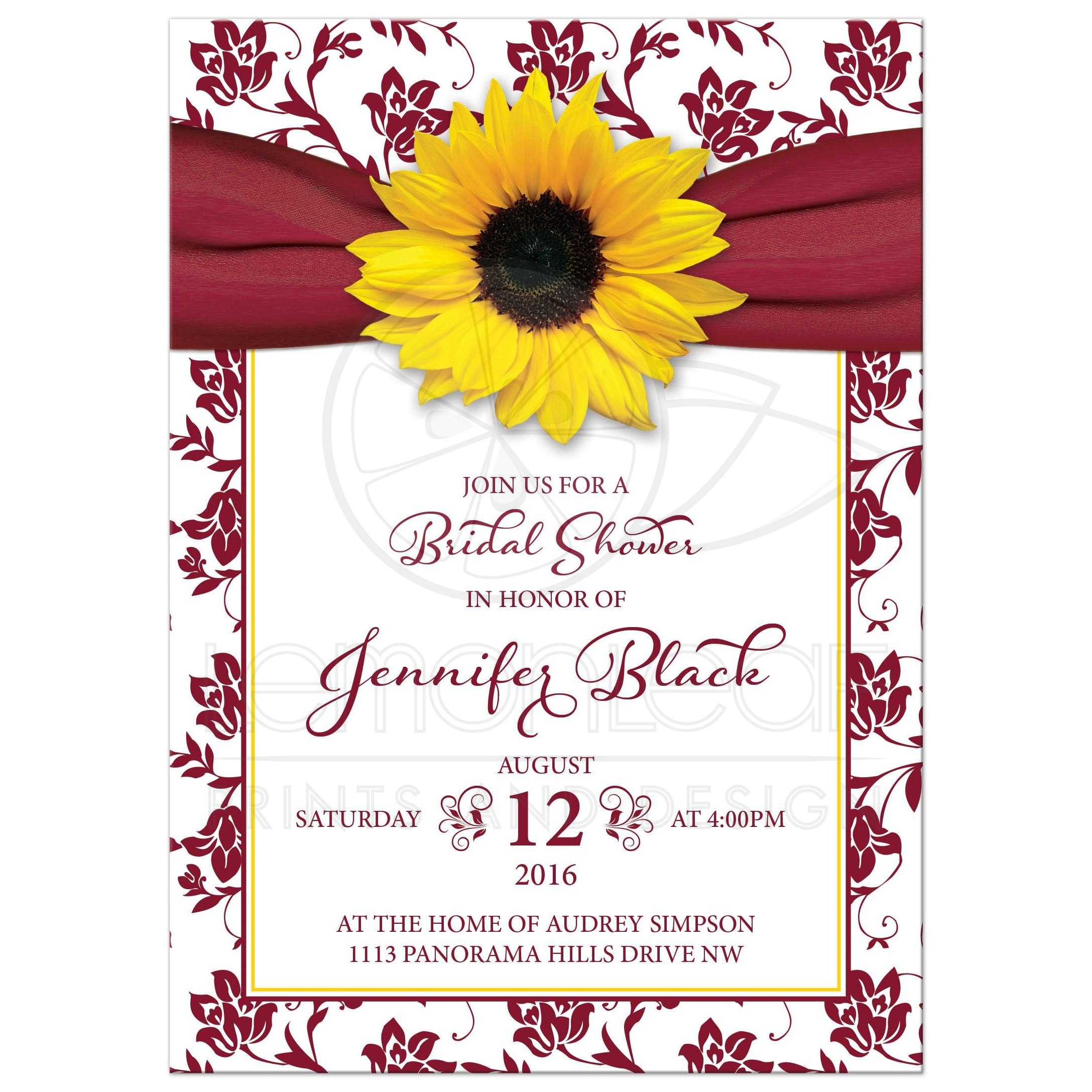 Fall sunflower bridal shower invitation burgundy yellow ribbon floral sunflower burgundy ribbon damask floral fall bridal shower invitation front filmwisefo