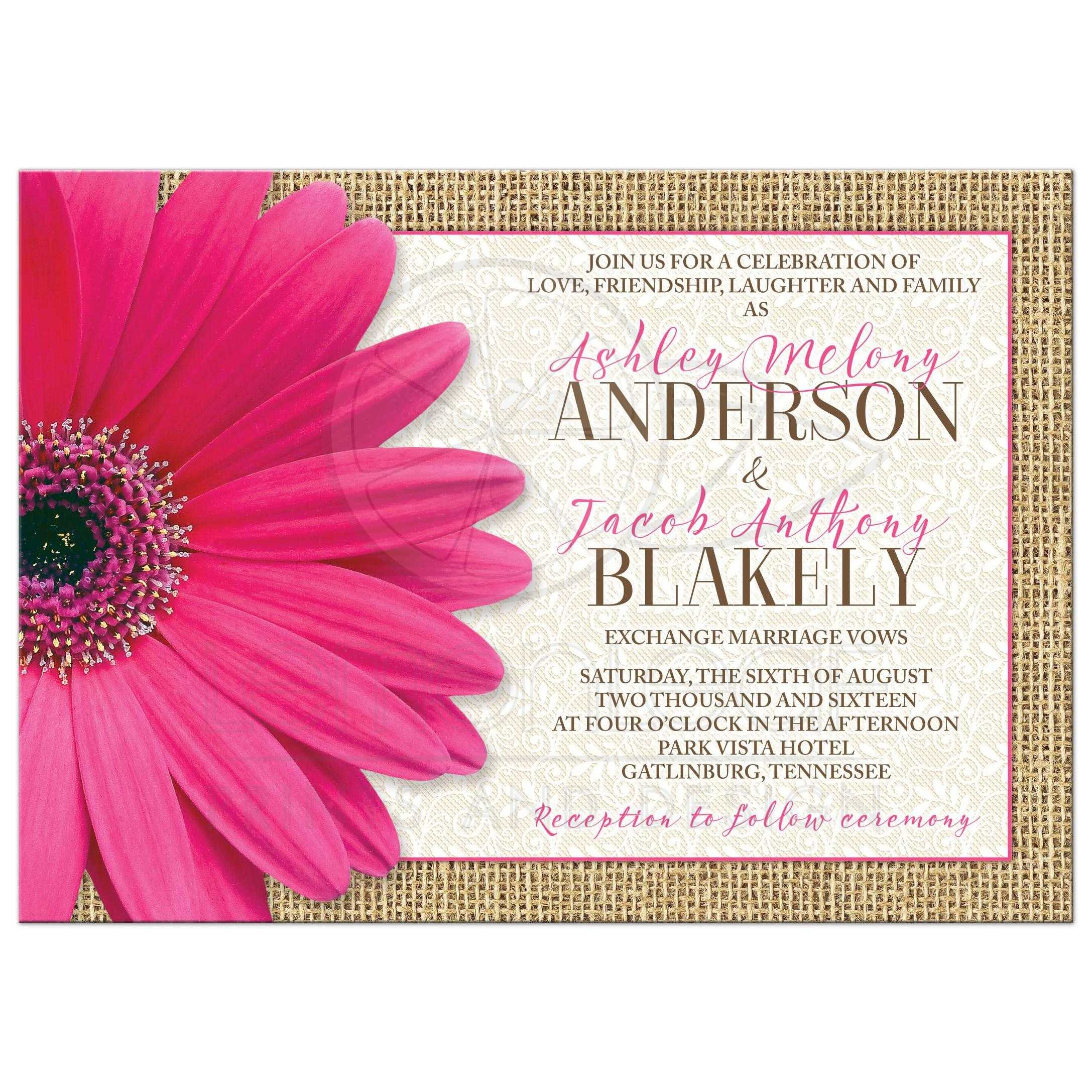 Rustic Pink Gerbera Daisy Burlap And Lace Wedding Invitation Front