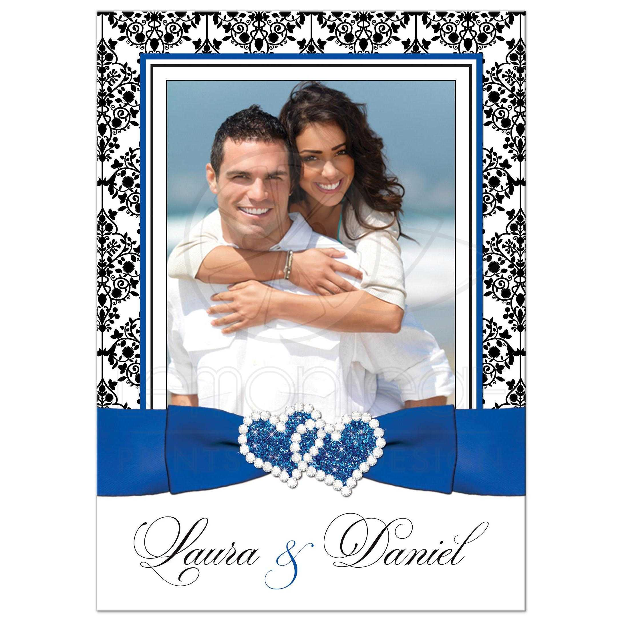 Photo template wedding invite royal blue white black damask royal blue black and white damask photo template wedding invitations with ribbon stopboris Image collections